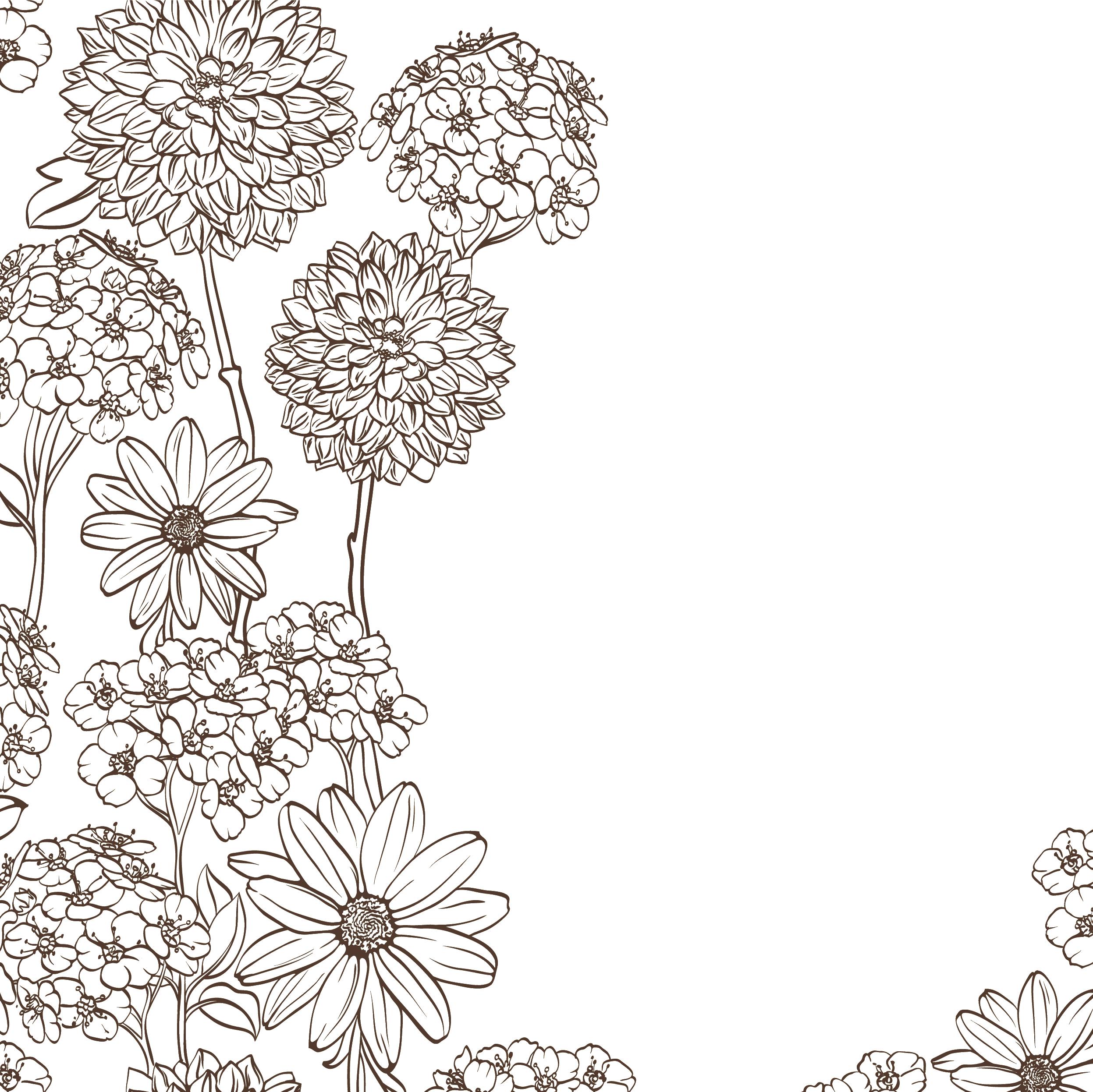花のイラストフリー素材壁紙背景no664手書き風透過色