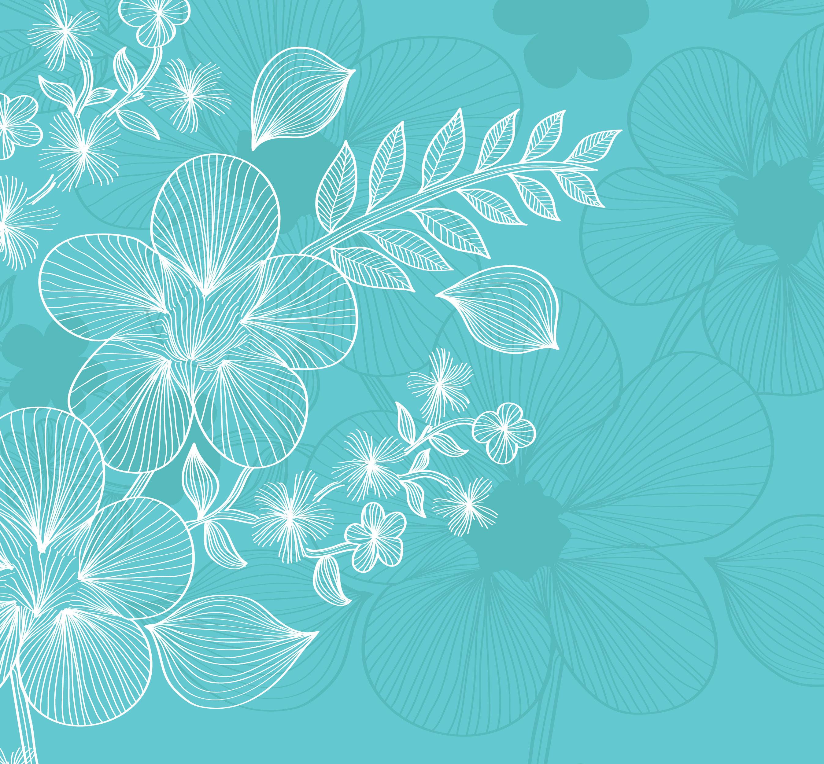 花のイラスト フリー素材 壁紙 背景no 669 青 白抜き シルエット