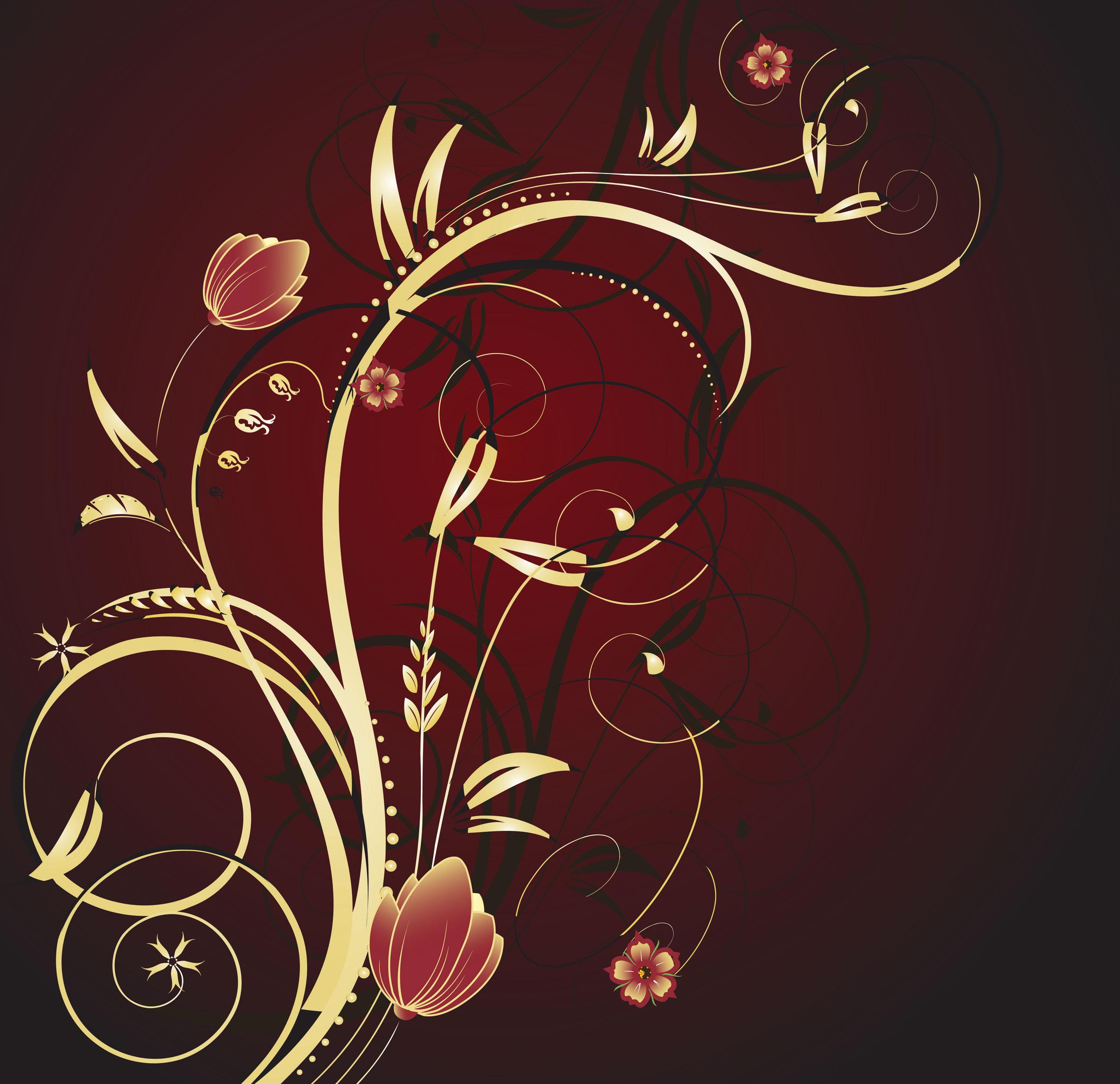 花のイラスト フリー素材 壁紙 背景no 277 ゴールド ゴージャス 赤