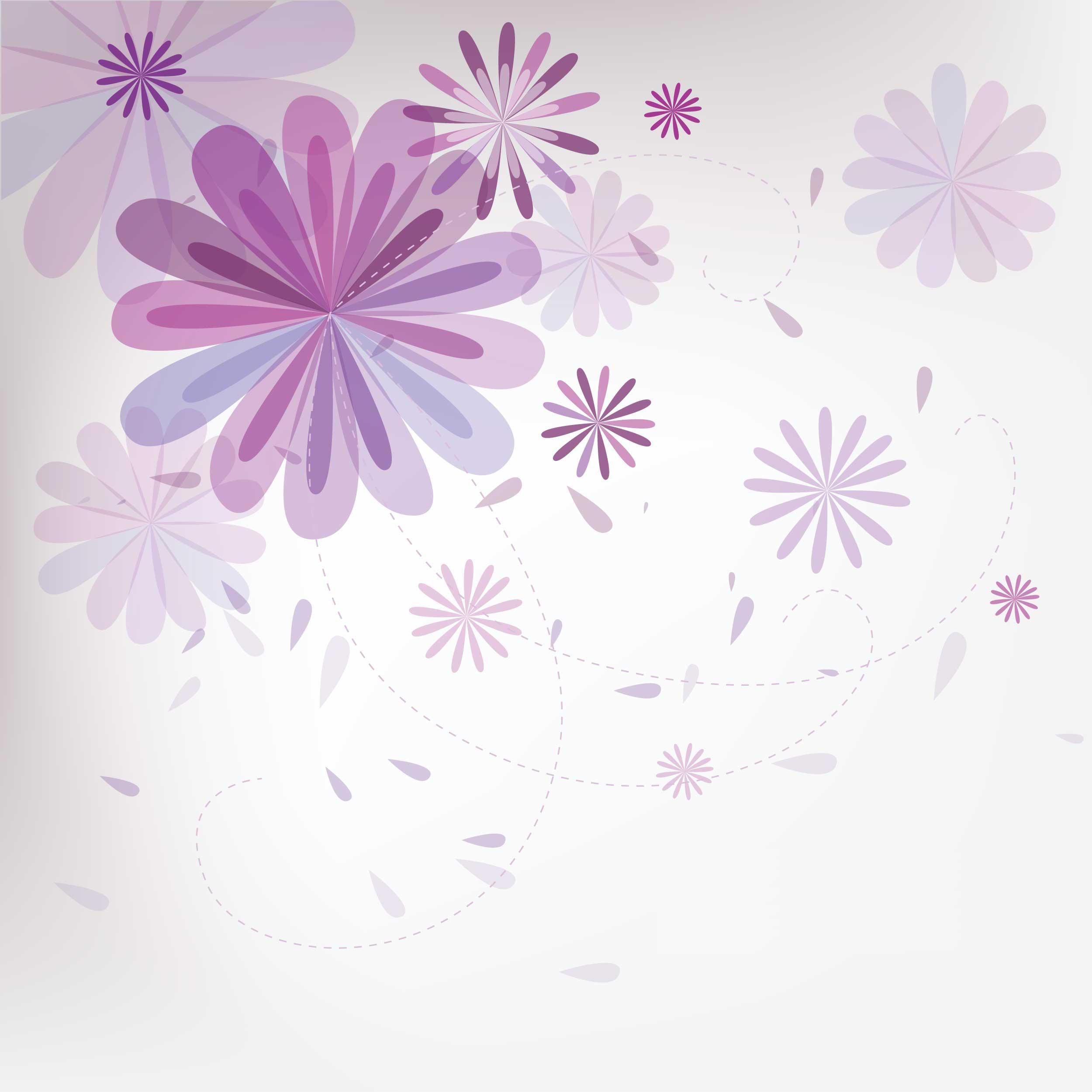 花のイラスト・フリー素材/壁紙・背景no.021『紫・花びら・淡い光彩』