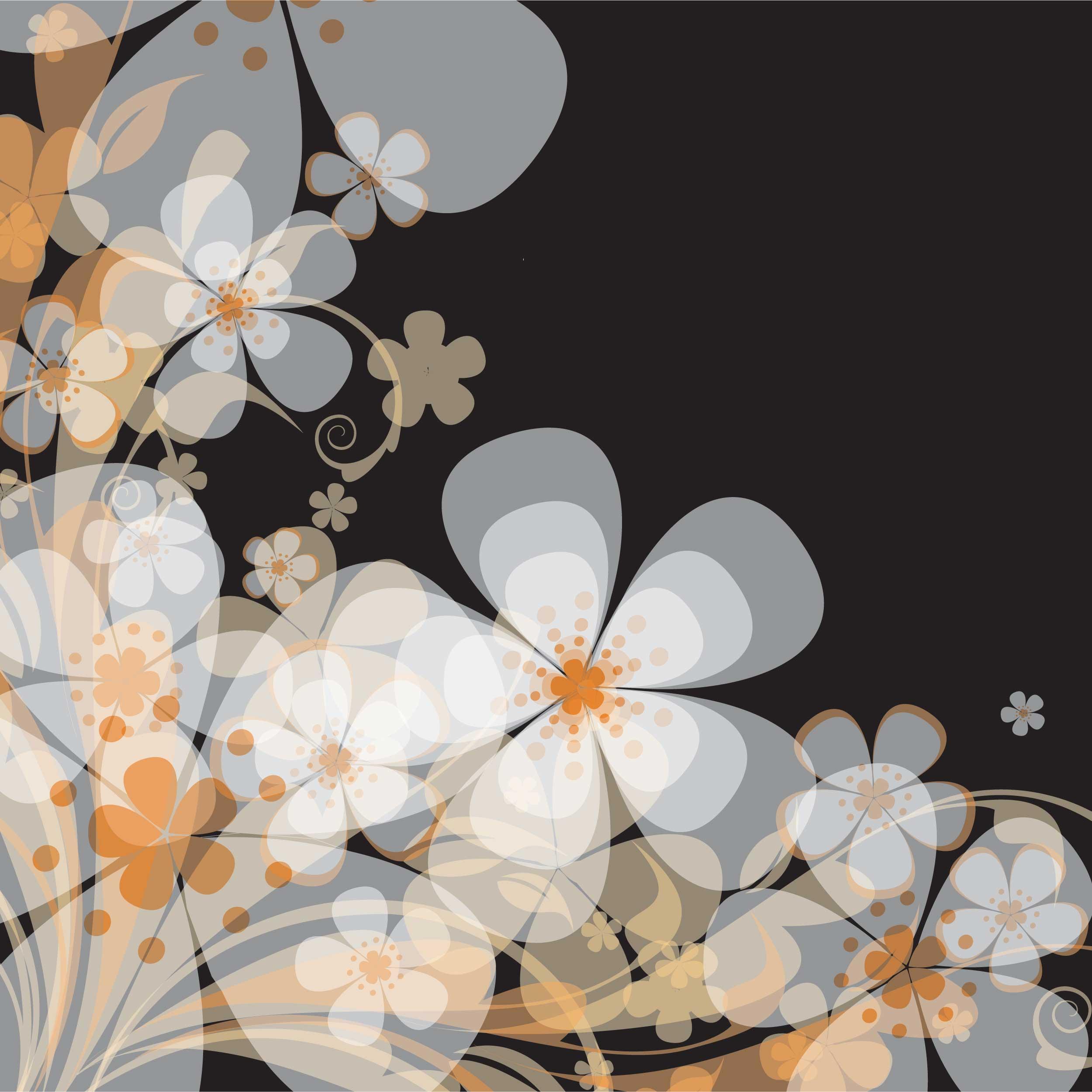 花のイラスト フリー素材 壁紙 背景no 280 白オレンジ 黒背景