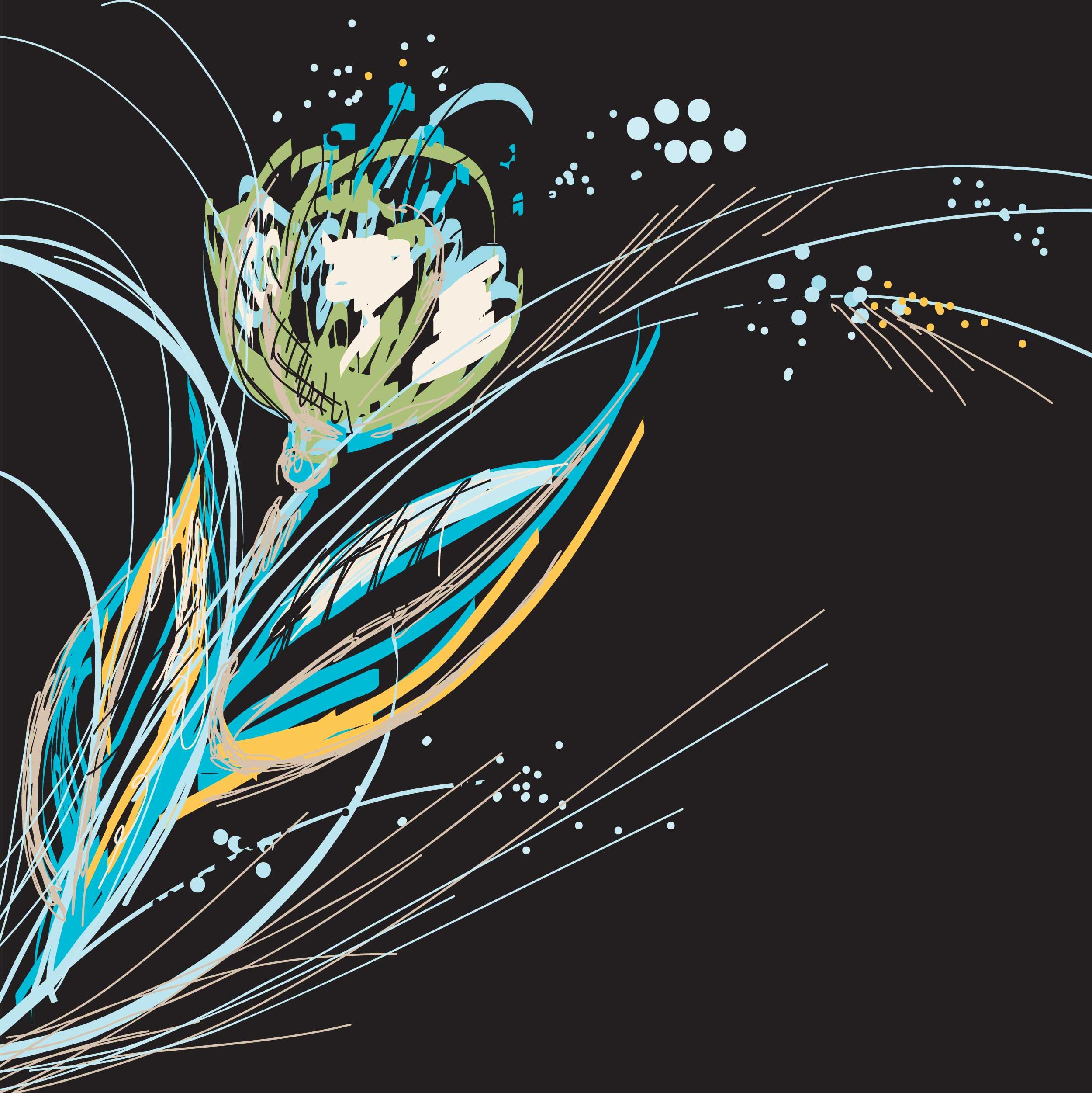 花のイラスト・フリー素材/壁紙・背景no.283『シック・クール・ダーク』