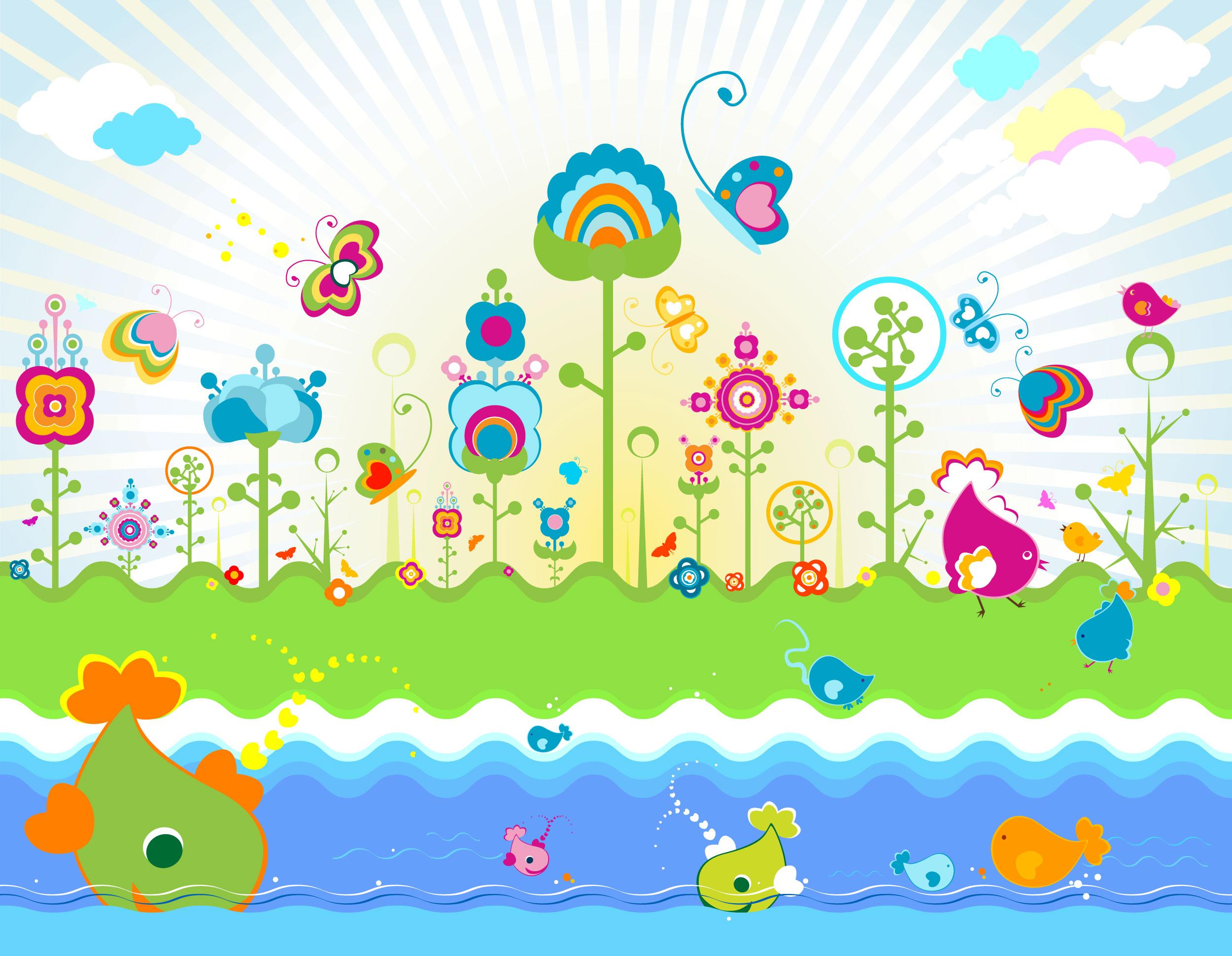 花のイラスト・フリー素材/壁紙・背景No.170『ポップアート・動植物』 | 2500 x 1940 jpeg 552kB