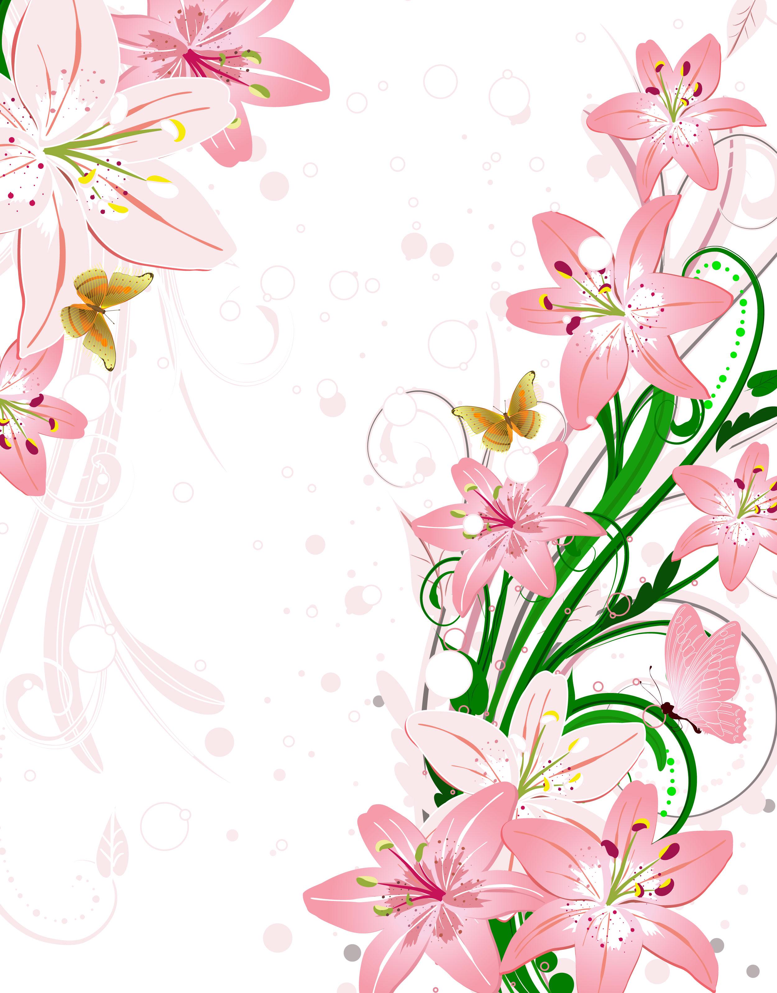 花のイラストフリー素材壁紙背景no715ピンクのユリ蝶緑葉