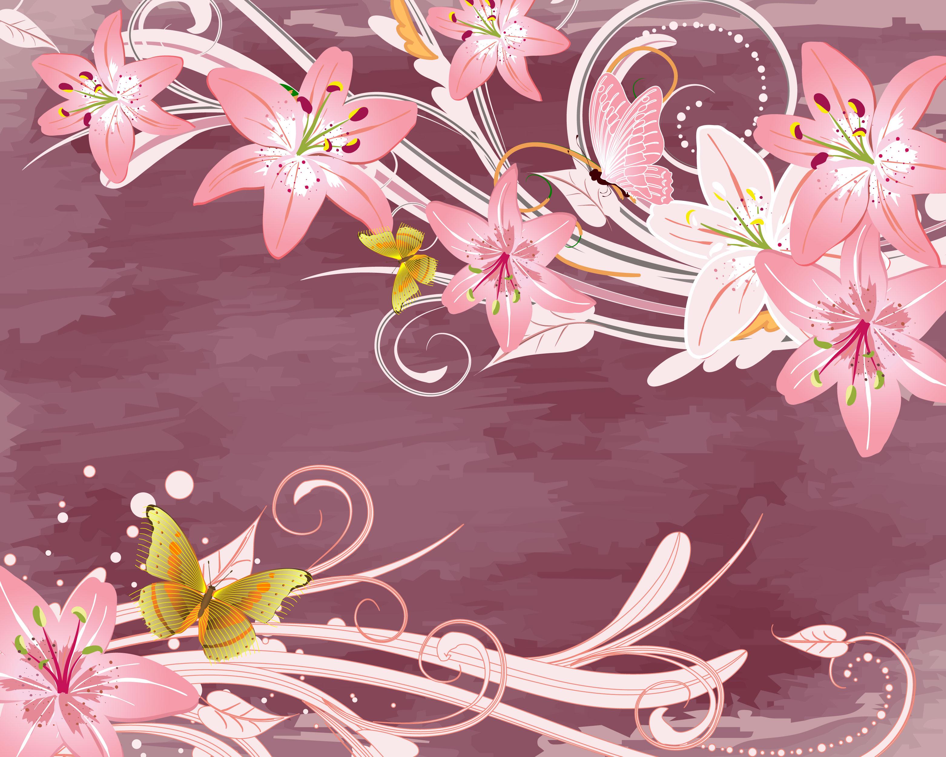 花のイラスト フリー素材 壁紙 背景no 716 ピンクのユリ 蝶 上下