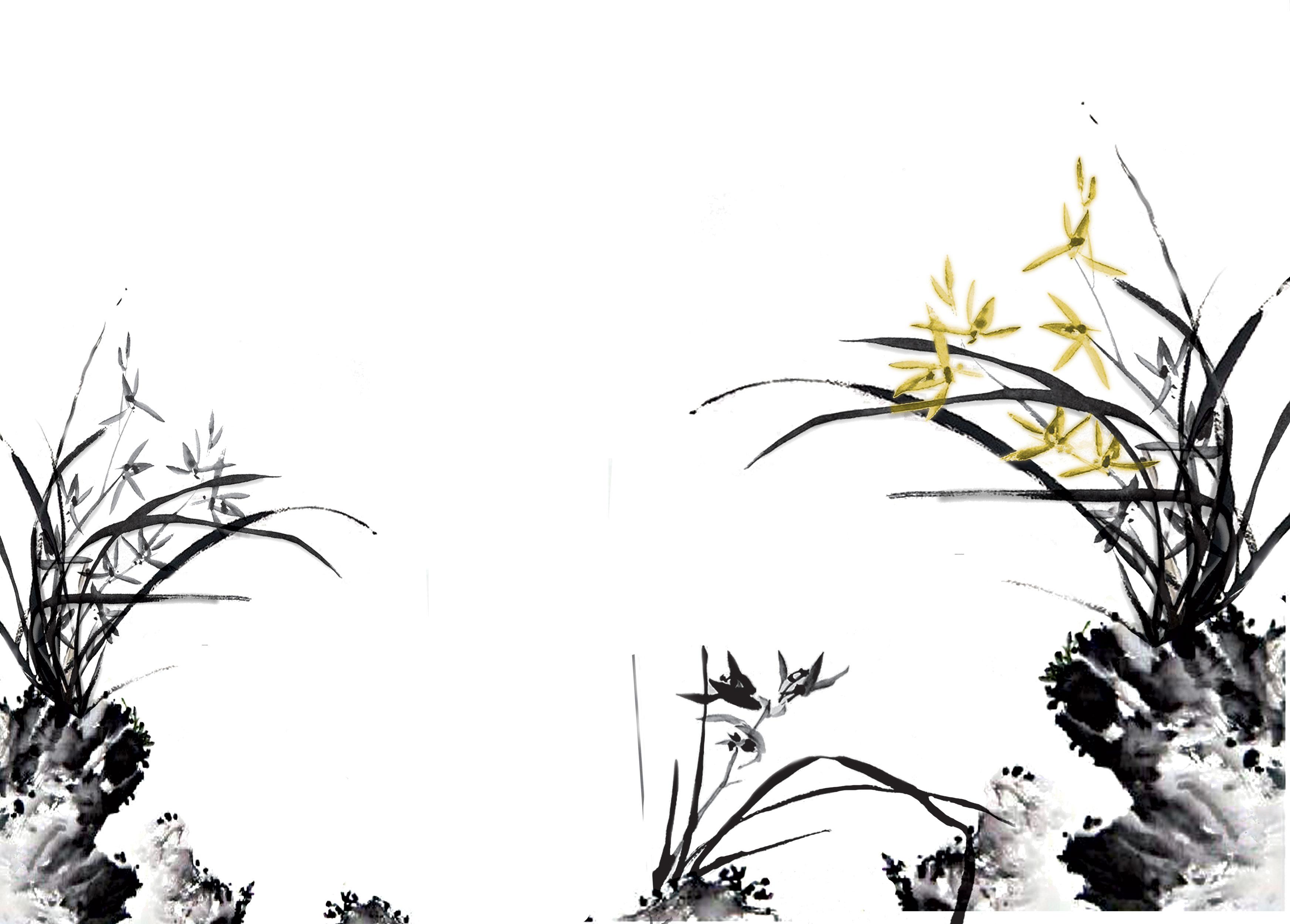 花のイラストフリー素材壁紙背景no717白黒水墨画風