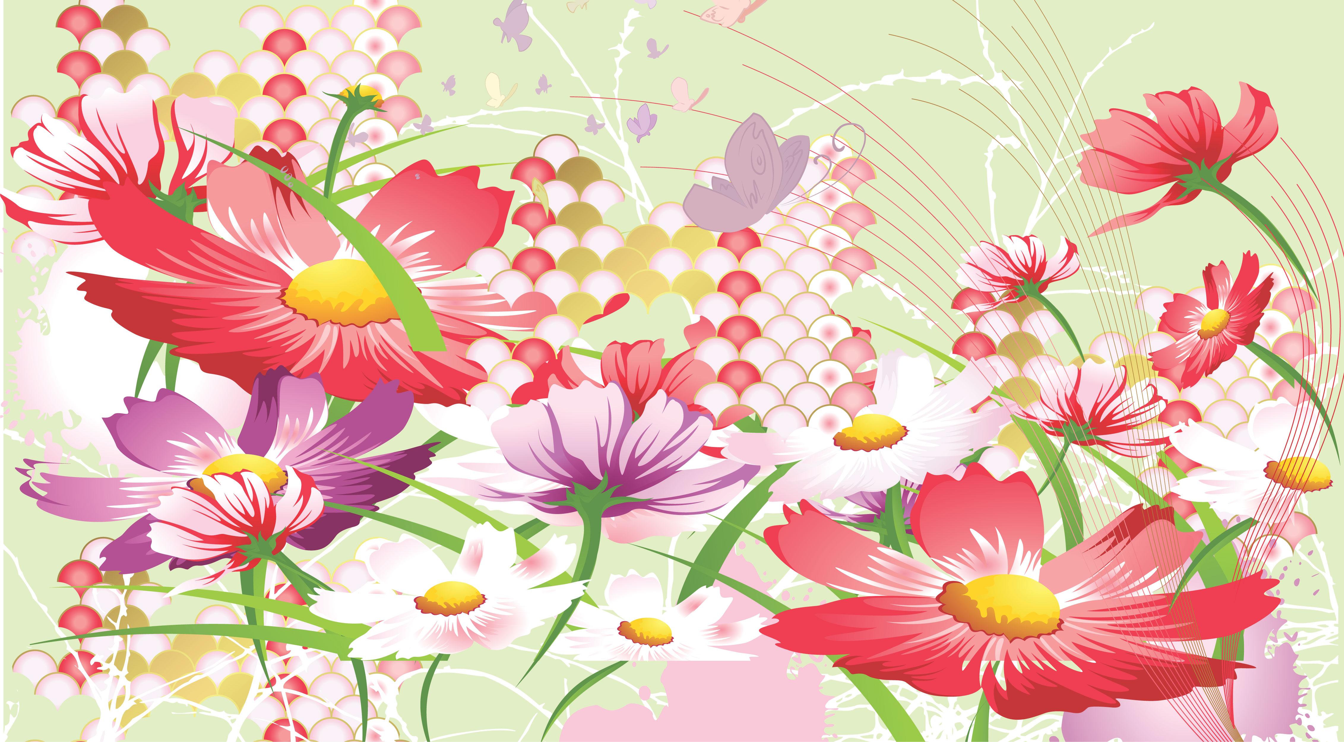 コスモスの画像 イラスト フリー素材 No 091 コスモス壁紙 群生 蝶