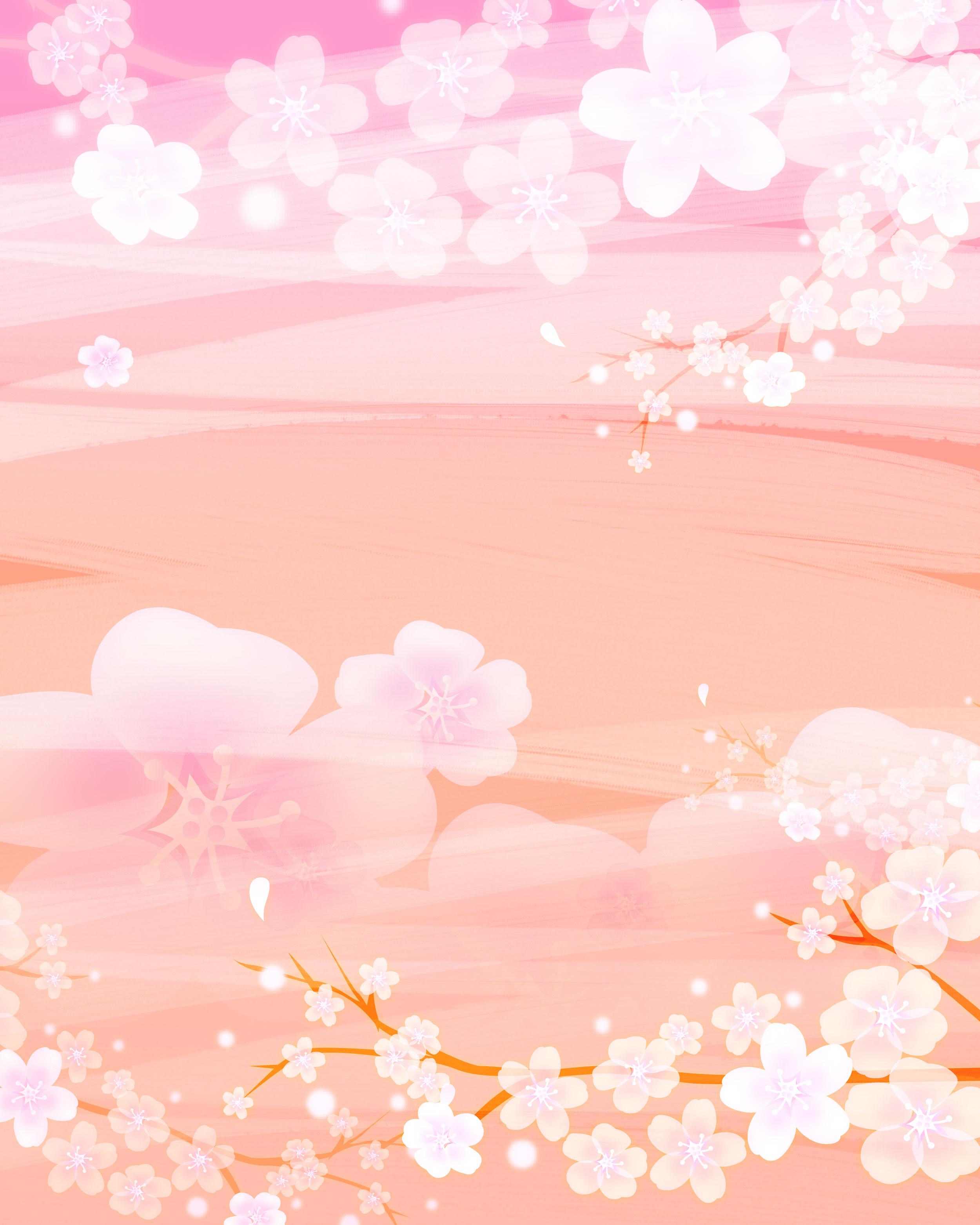 花のイラスト・フリー素材/壁紙・背景no.040『ピンク・桜・梅・枝』