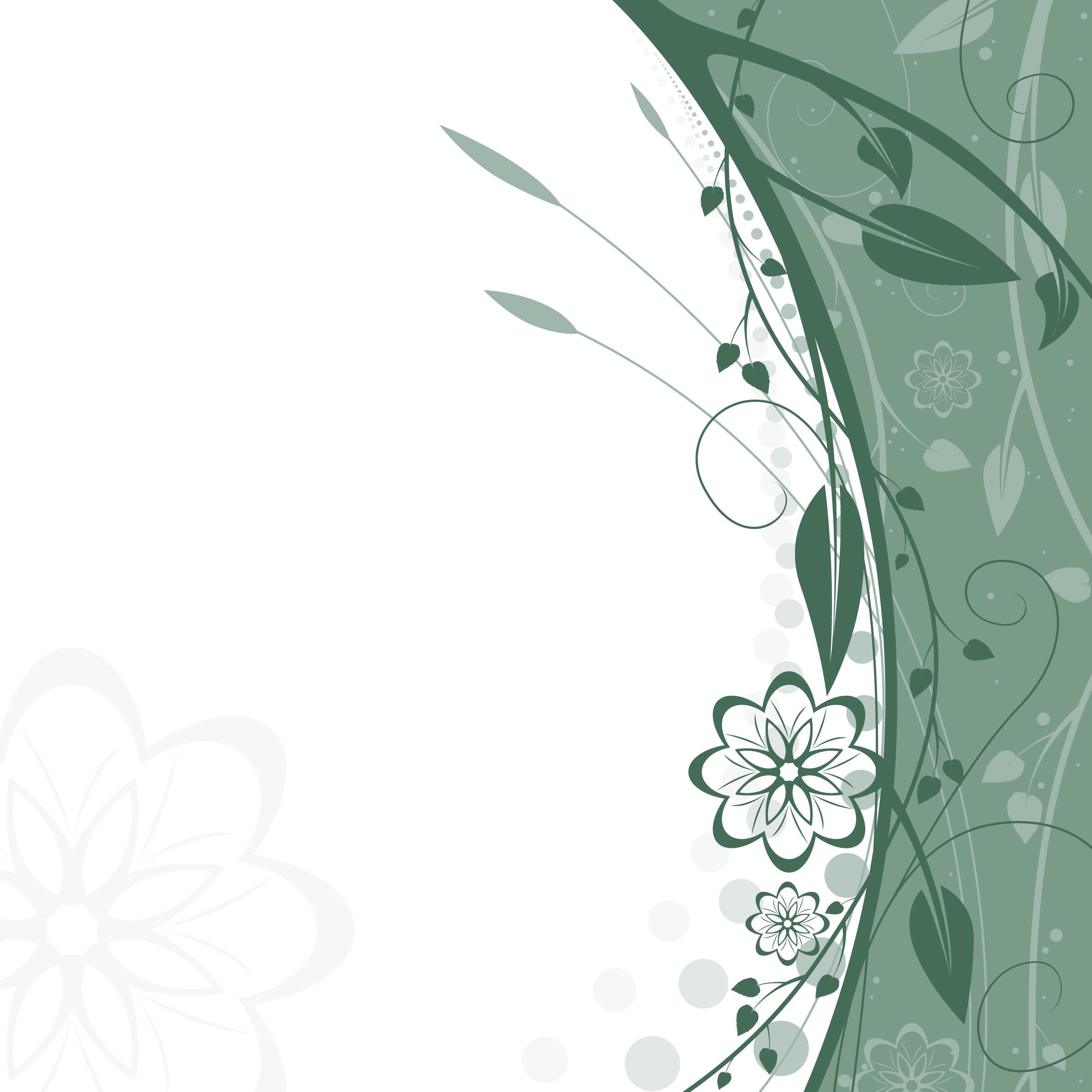 花のイラスト・フリー素材/壁紙・背景no.307『緑と白・影・茎葉』