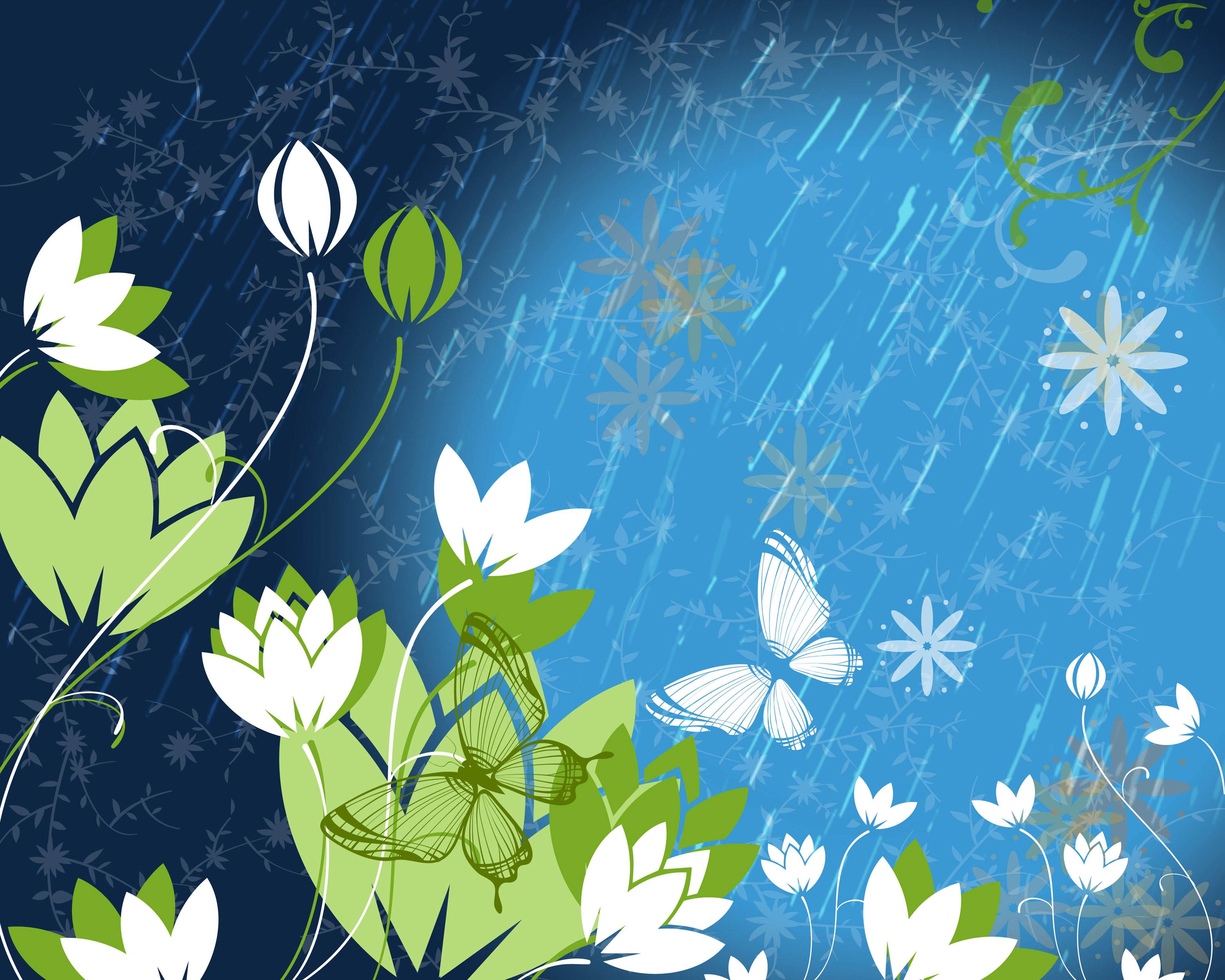 はす 蓮 のイラスト 画像no 054 壁紙 蓮と雨 蝶 無料のフリー