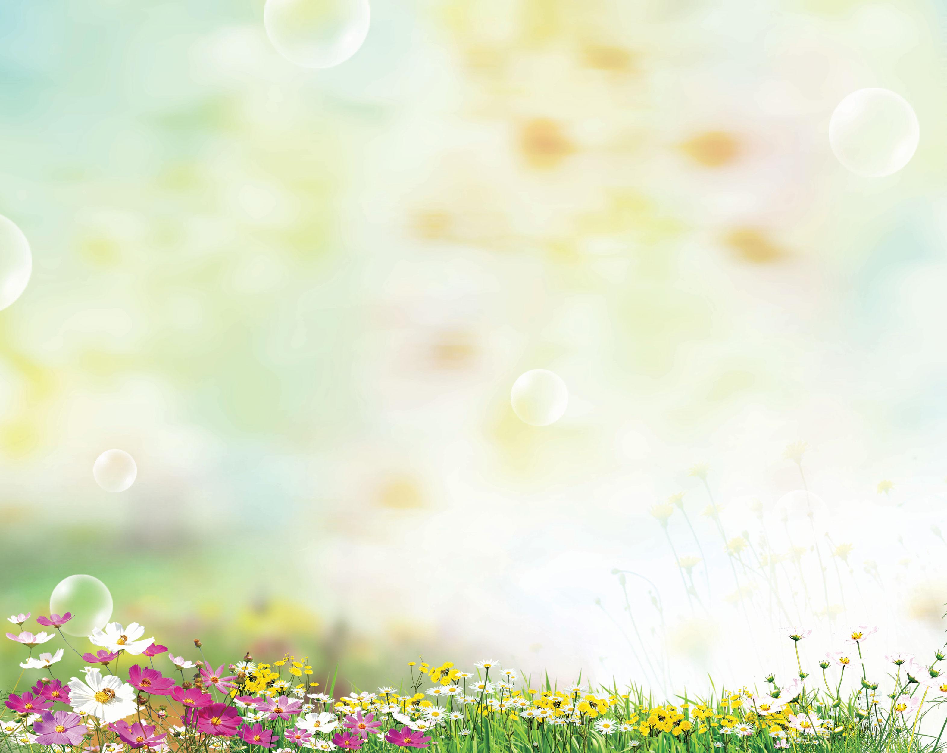 花のイラスト・フリー素材/壁紙・背景no.341『コスモス・空・シャボン玉』