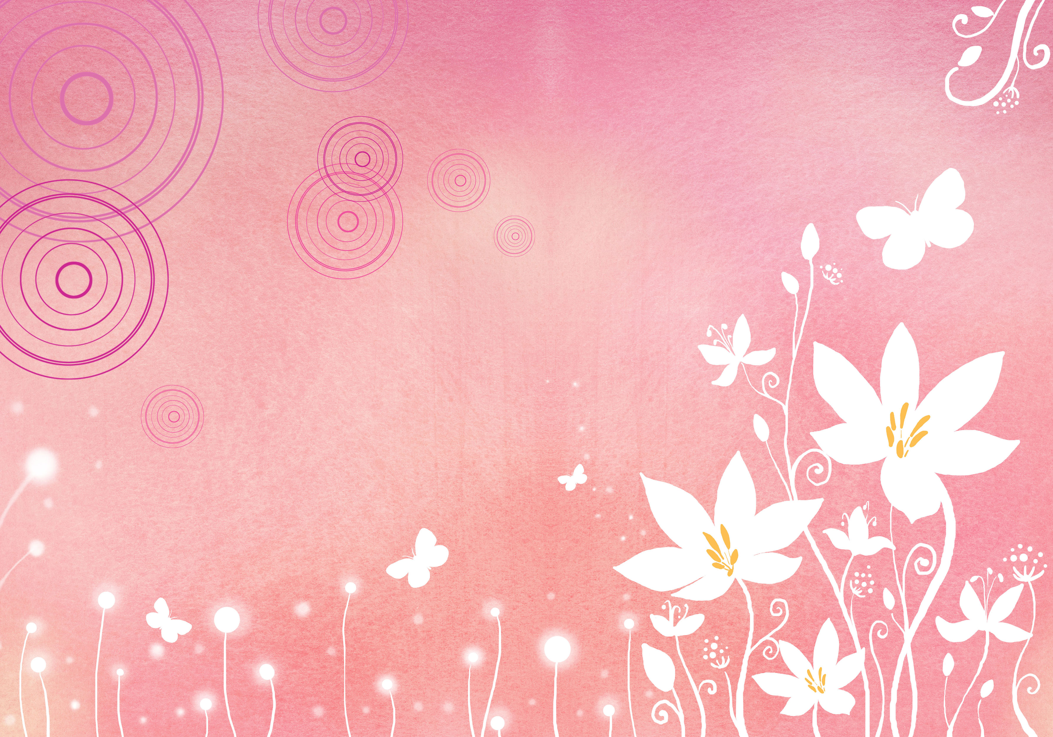 花のイラスト フリー素材 壁紙 背景no 753 ピンク 白抜き 蝶