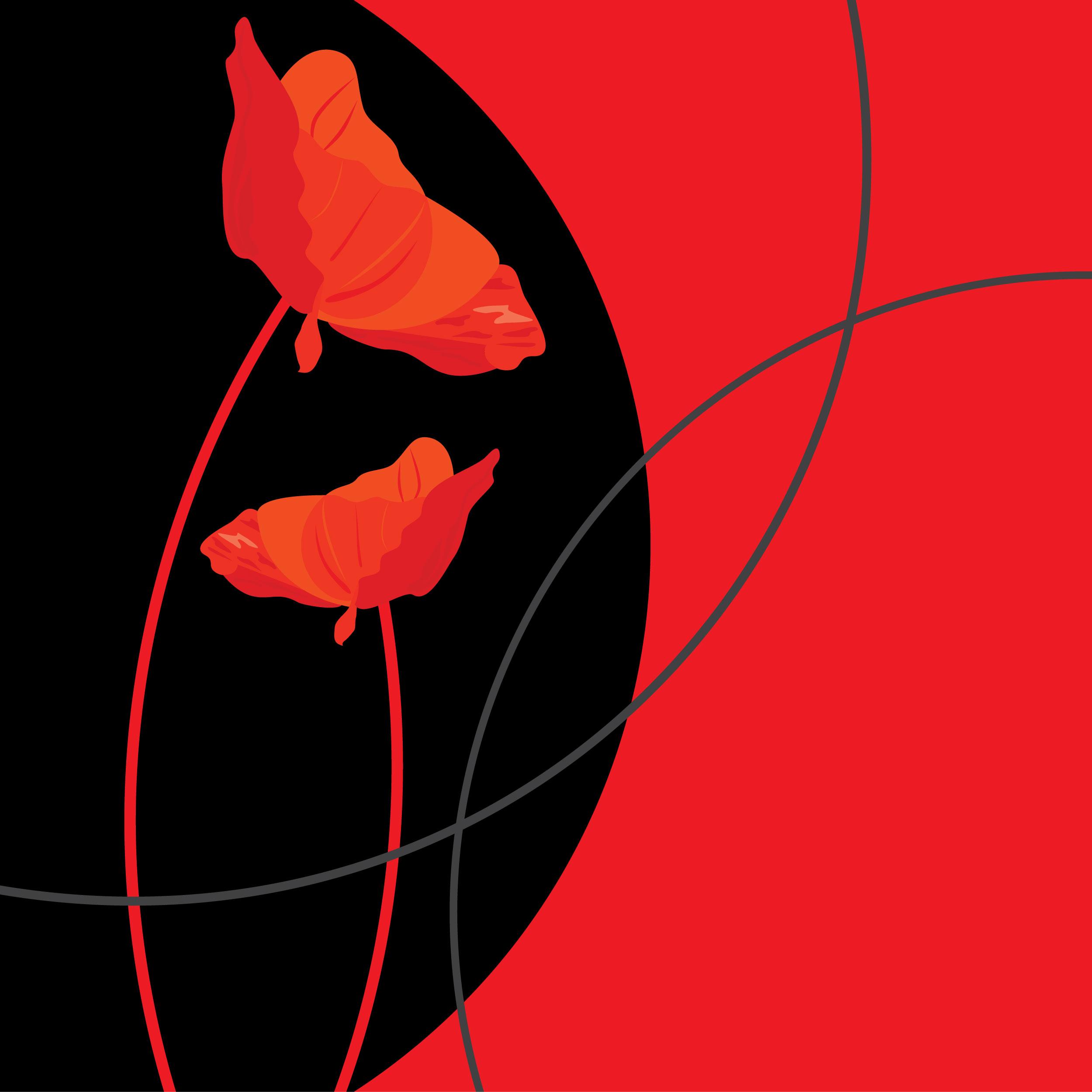 花のイラスト フリー素材 壁紙 背景no 760 赤黒 ツートンカラー