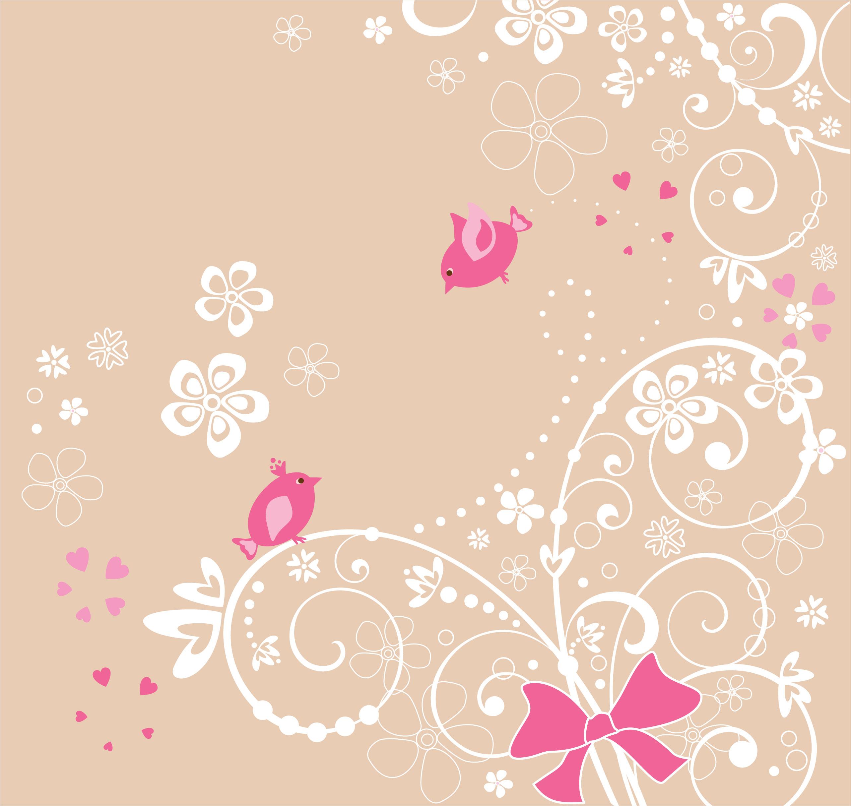 花のイラスト フリー素材 壁紙 背景no 174 ピンク 鳥 ハート