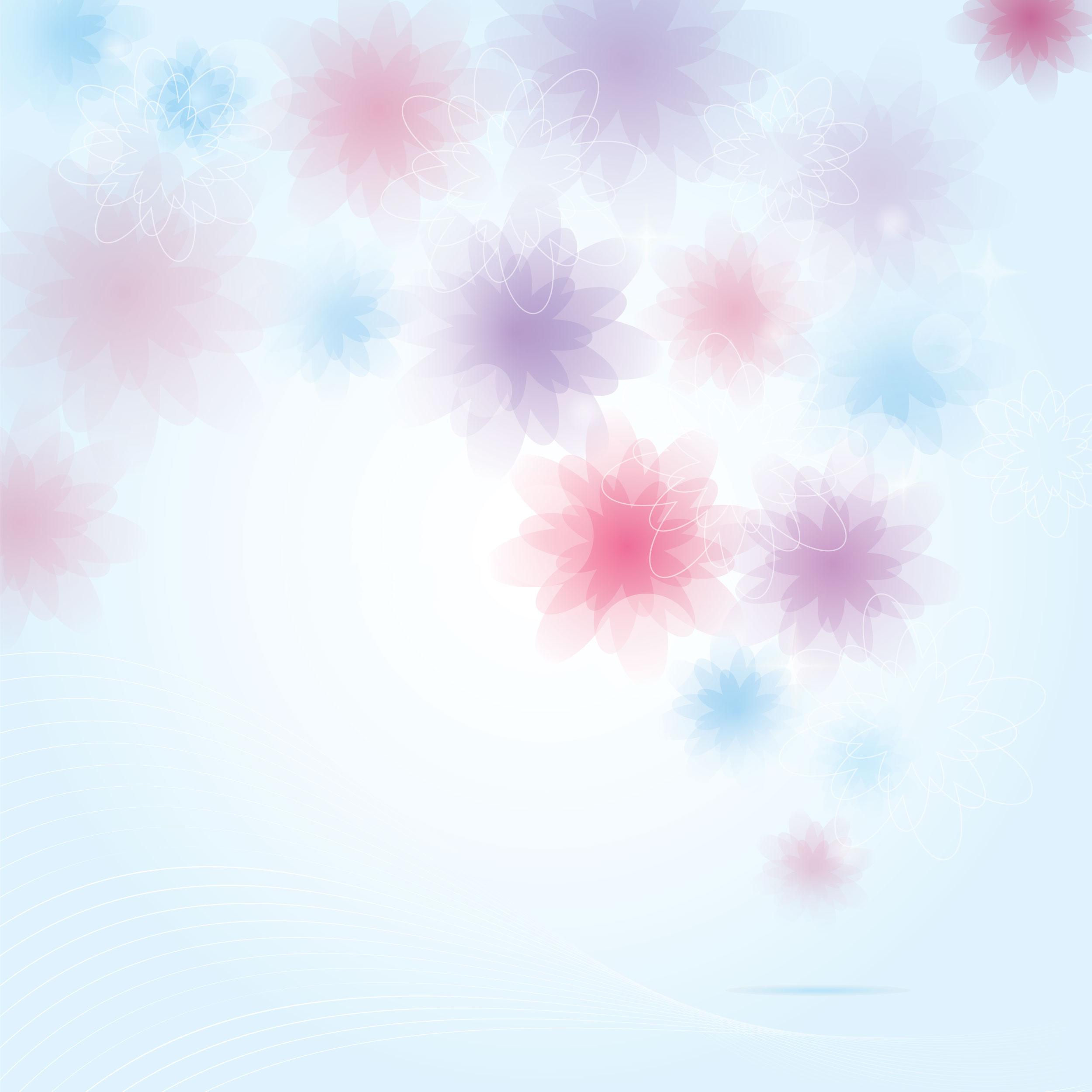 花のイラスト・フリー素材/壁紙・背景no.056『赤青紫・淡い色彩』