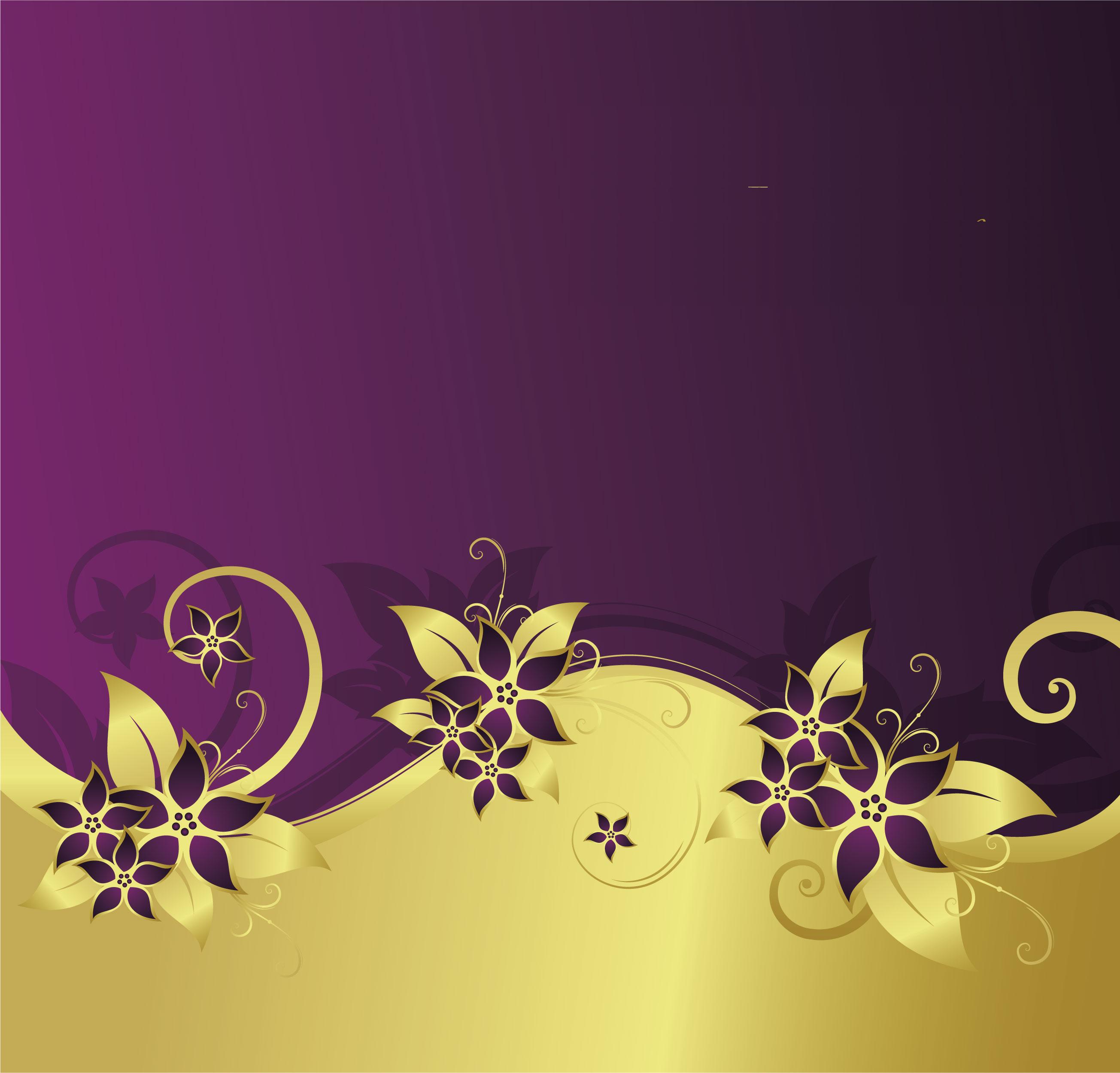 花のイラスト フリー素材 壁紙 背景no 309 紫 ゴールド ゴージャス