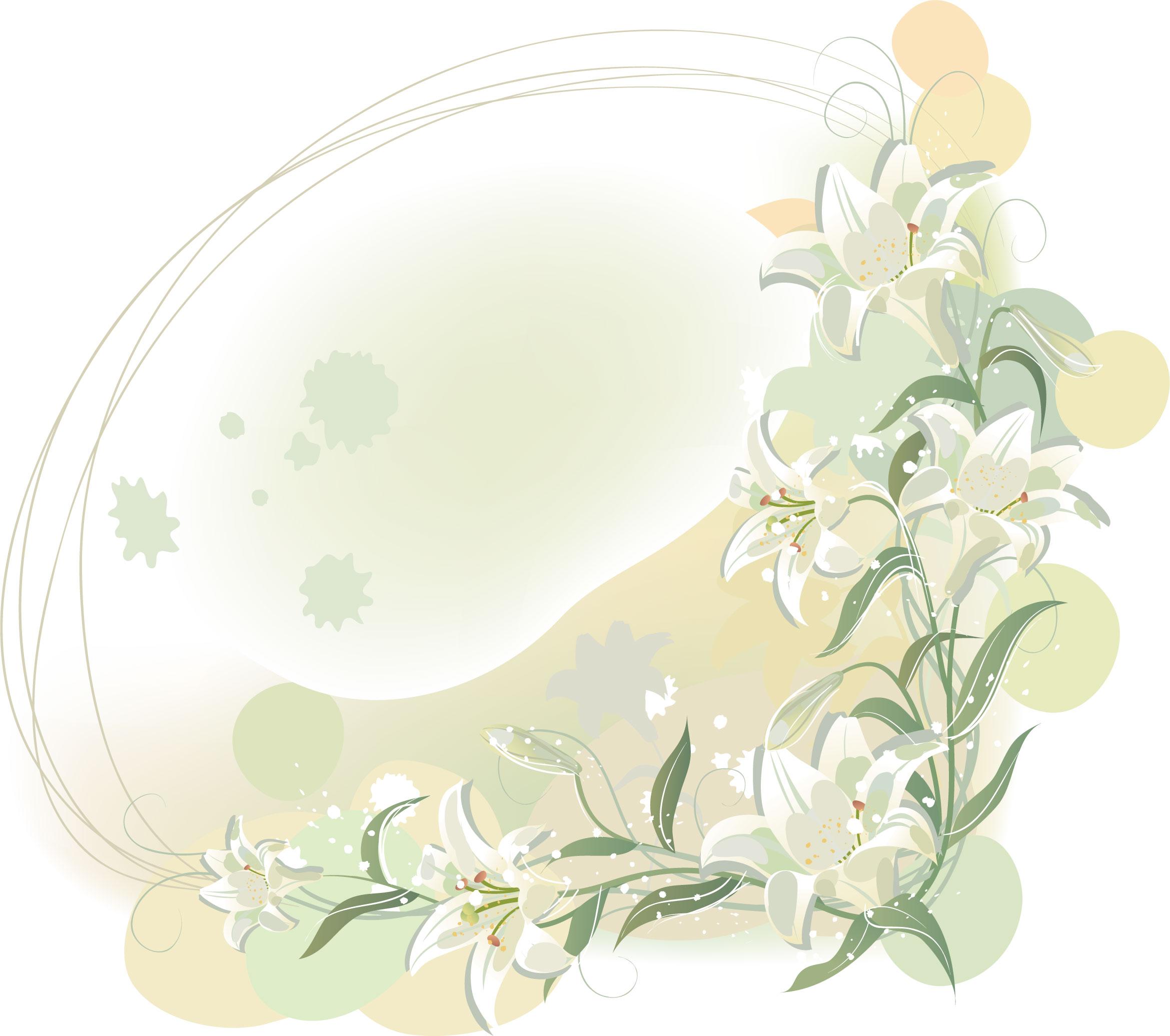 白いの花のイラスト・フリー素材/背景・壁紙no.430『白ユリ・淡い色彩』