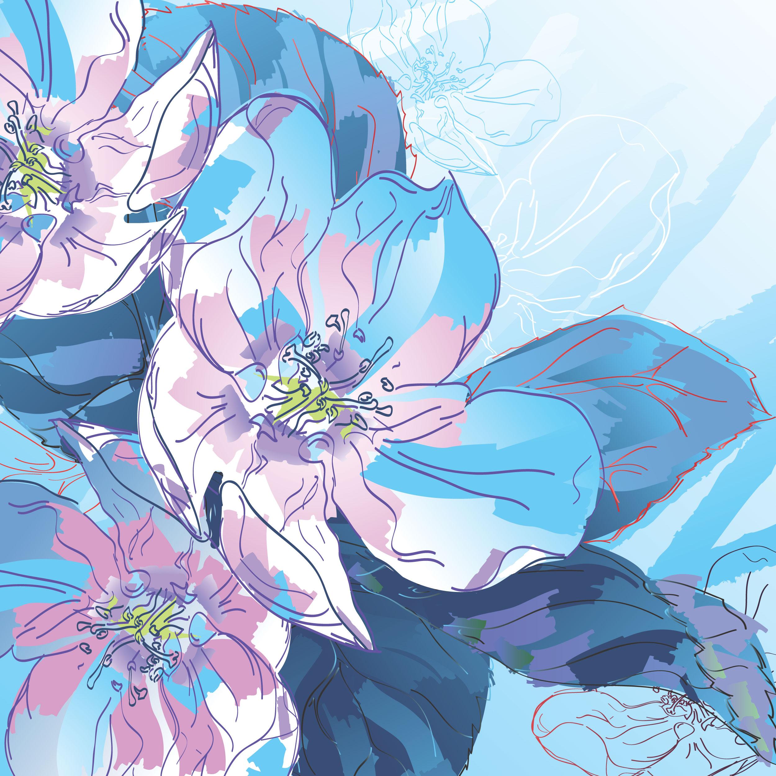 花のイラストフリー素材壁紙背景no791手書き風カラフル