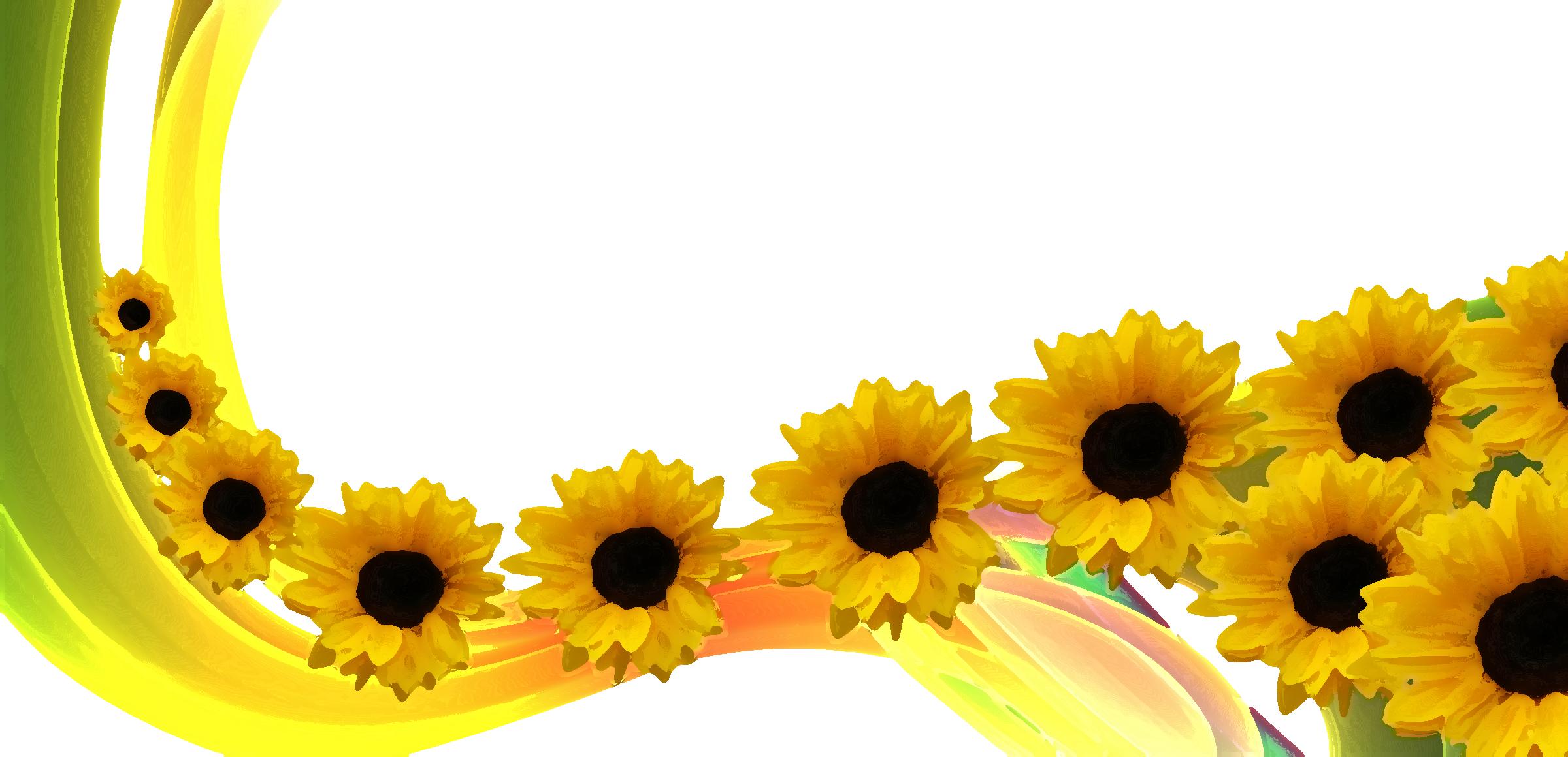 花のイラスト・フリー素材/壁紙・背景no.396『ひまわりライン・カラフル』