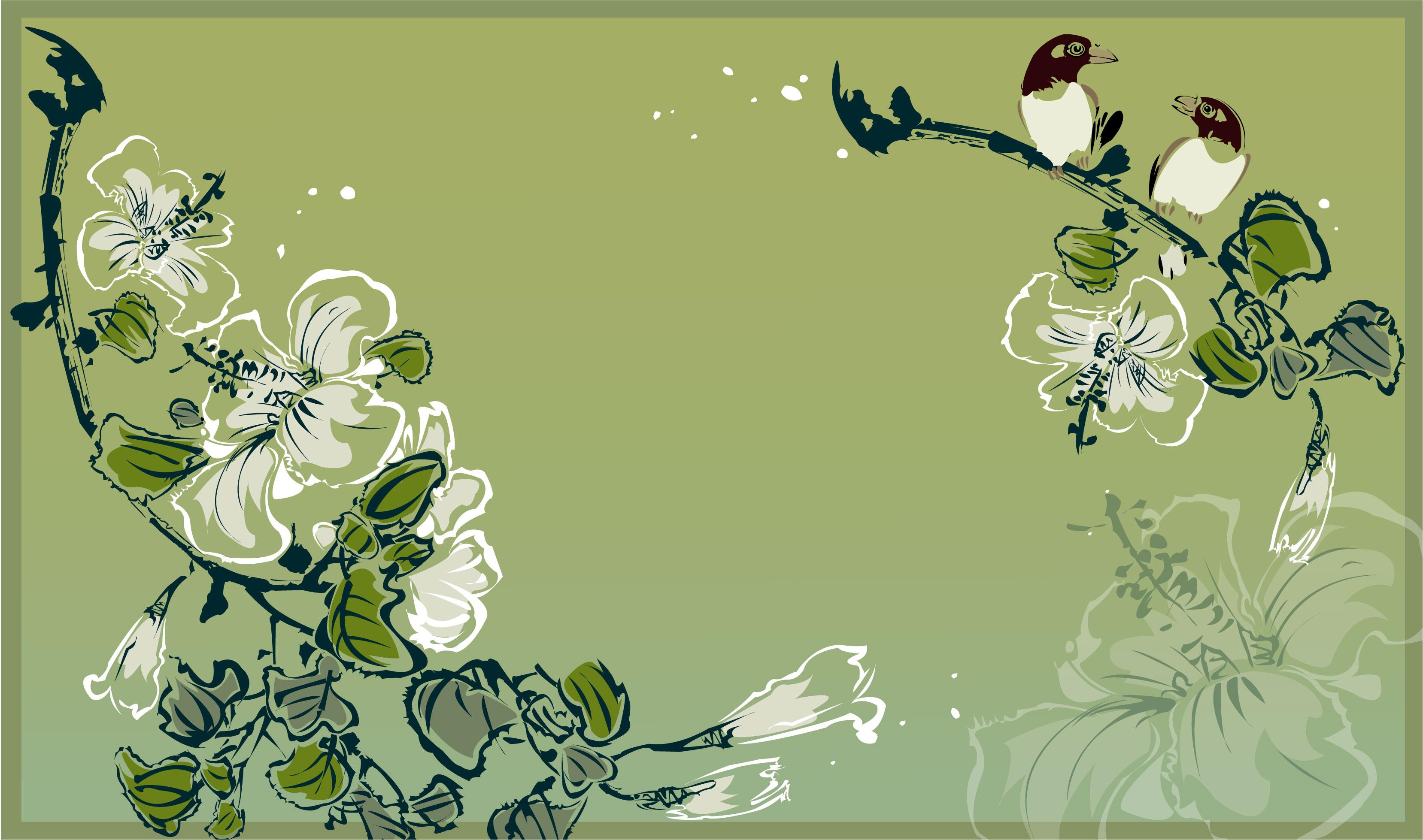花のイラストフリー素材壁紙背景no803和風墨絵鳥ユリ