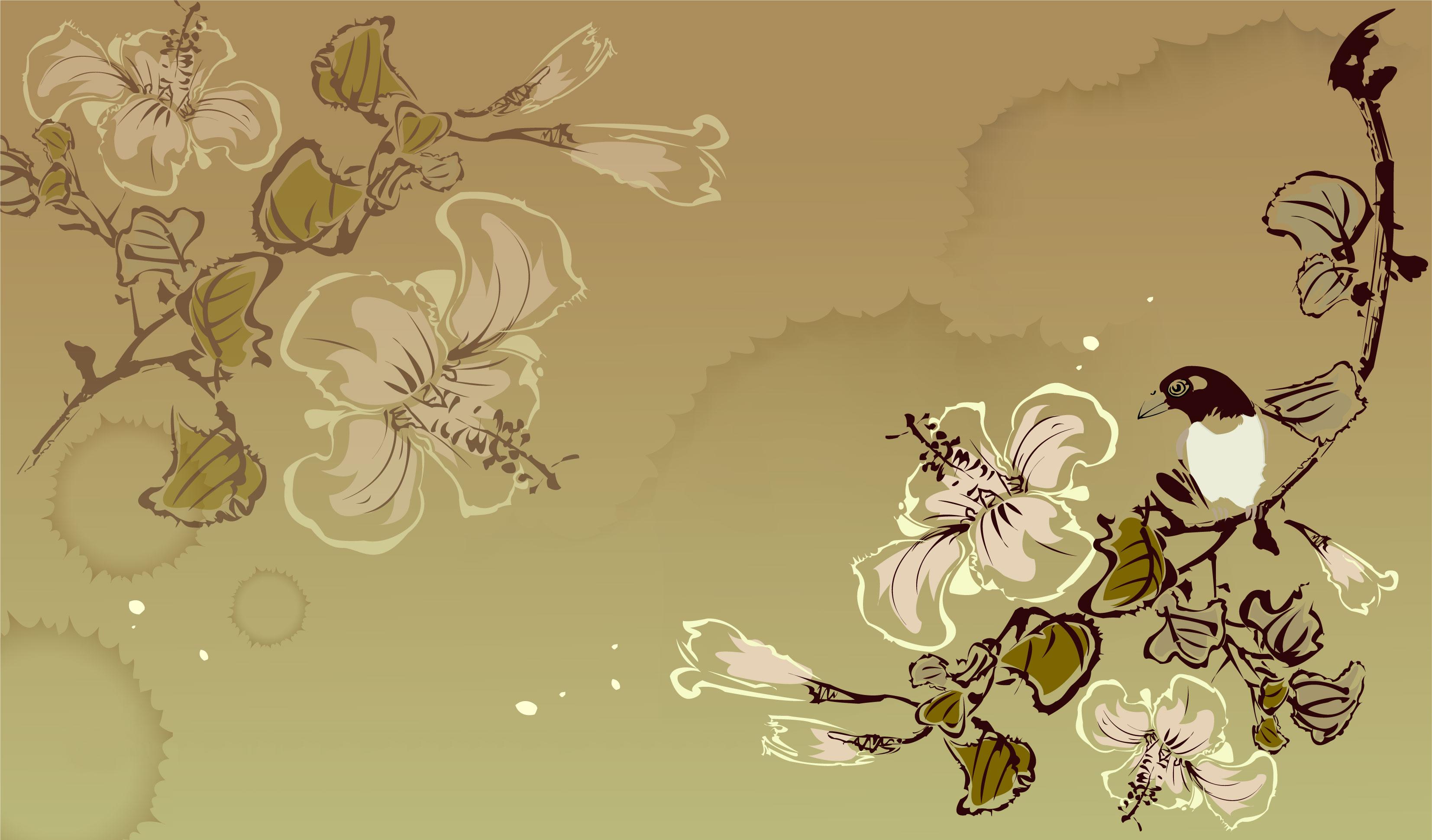 花のイラスト・フリー素材/壁紙・背景no.804『和風・墨絵・鳥・ユリ』
