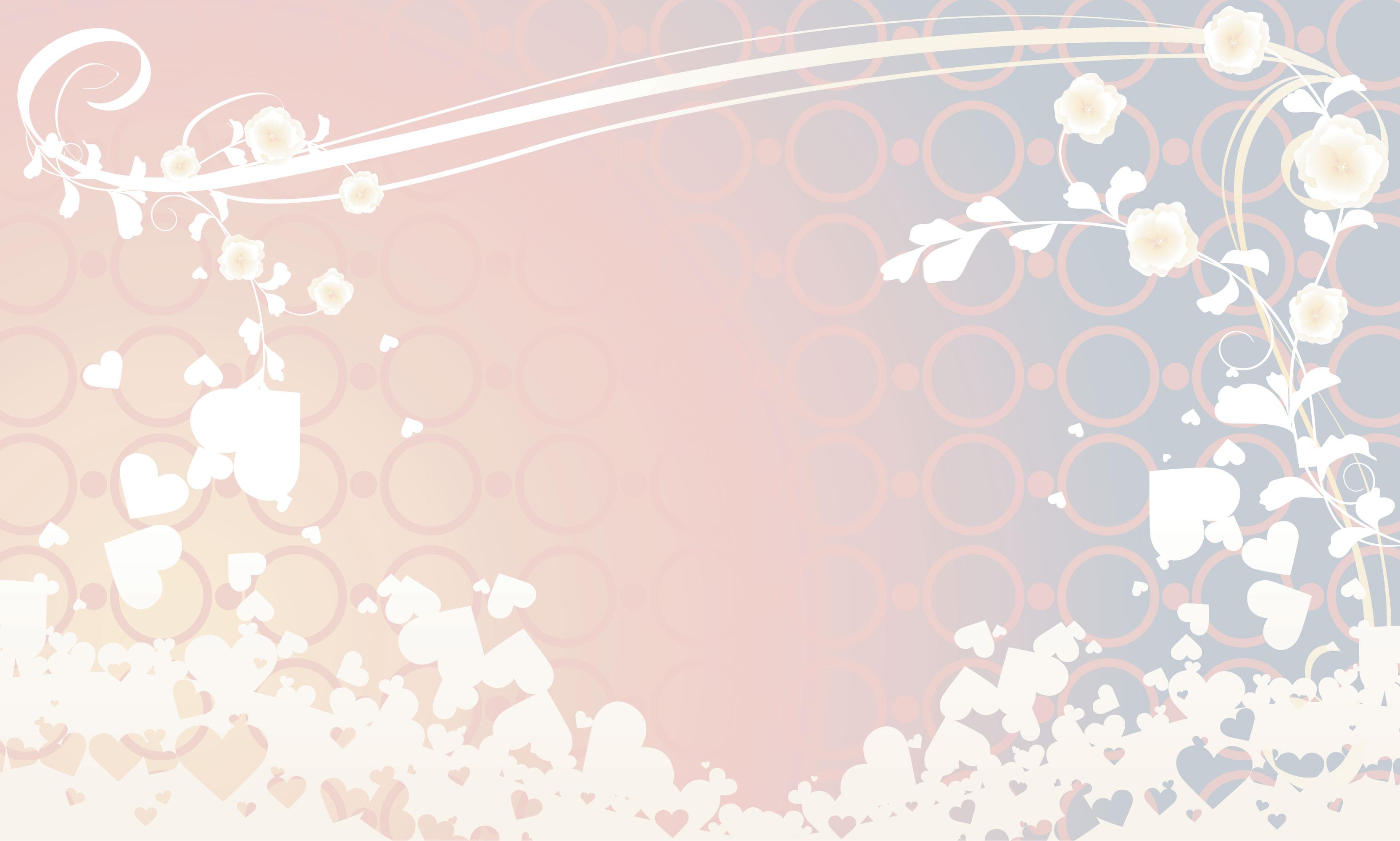 花のイラスト・フリー素材/壁紙・背景no.059『淡い色彩・ハート』
