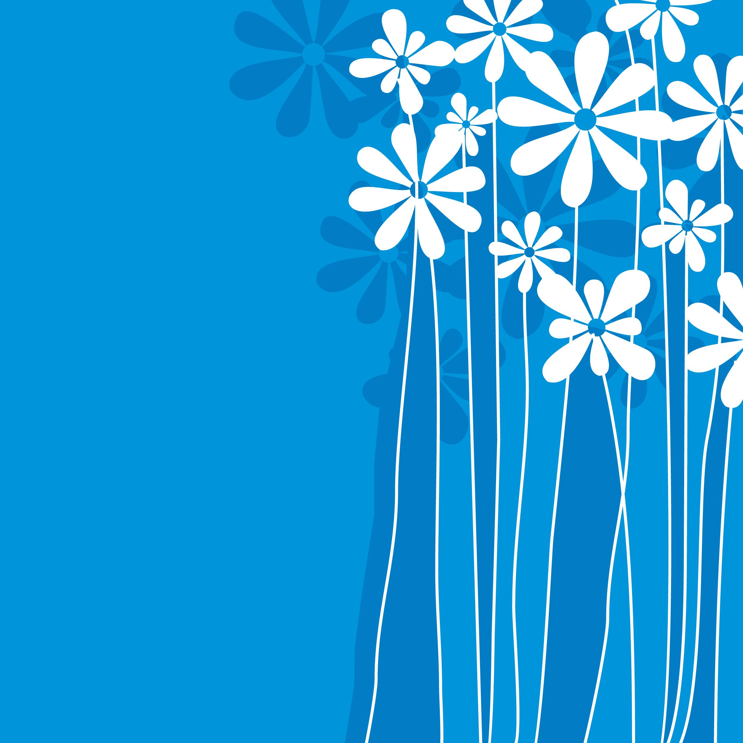 花のイラスト フリー素材 壁紙 背景no 825 青 影 白抜き