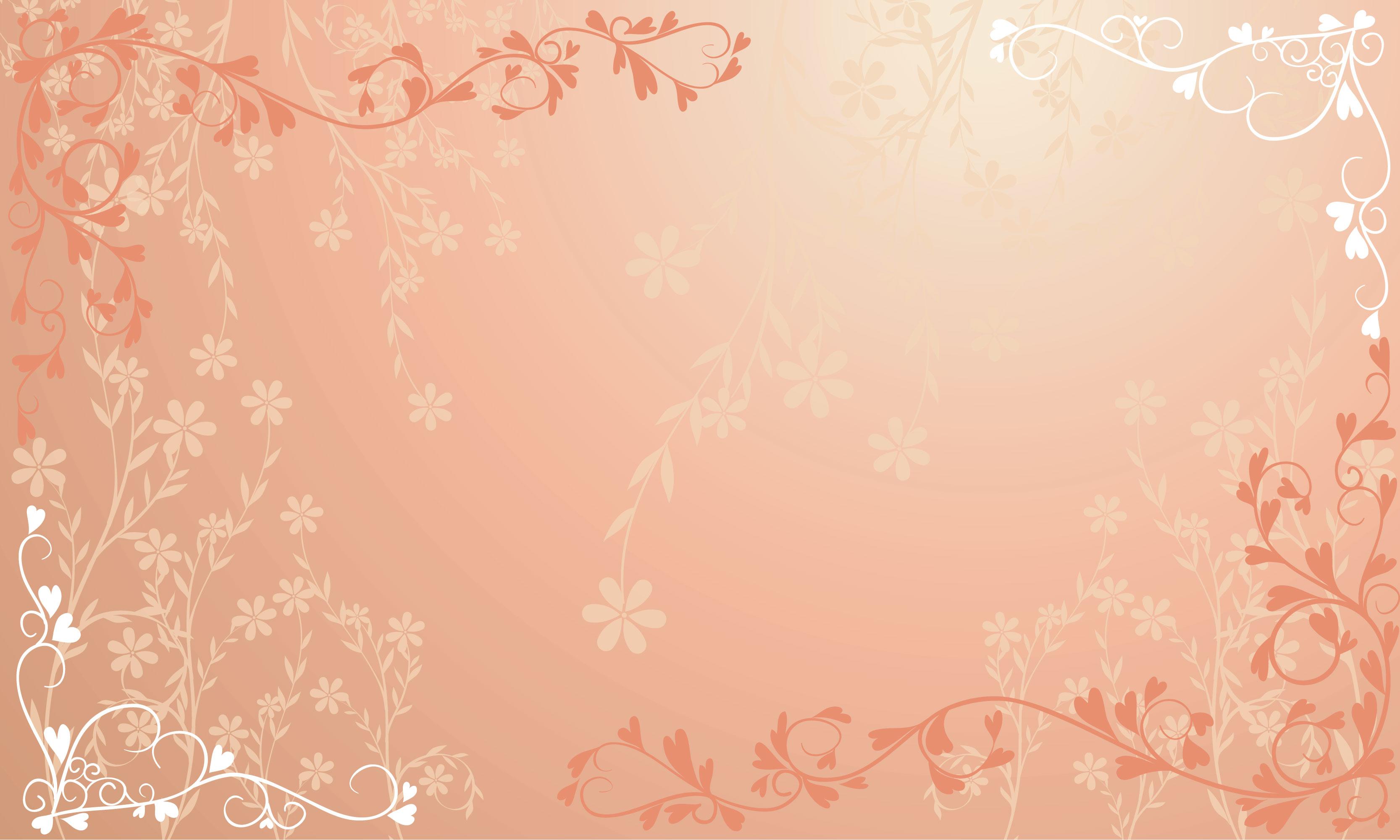 花のイラスト・フリー素材/壁紙・背景no.064『赤・ハート・淡い色彩』