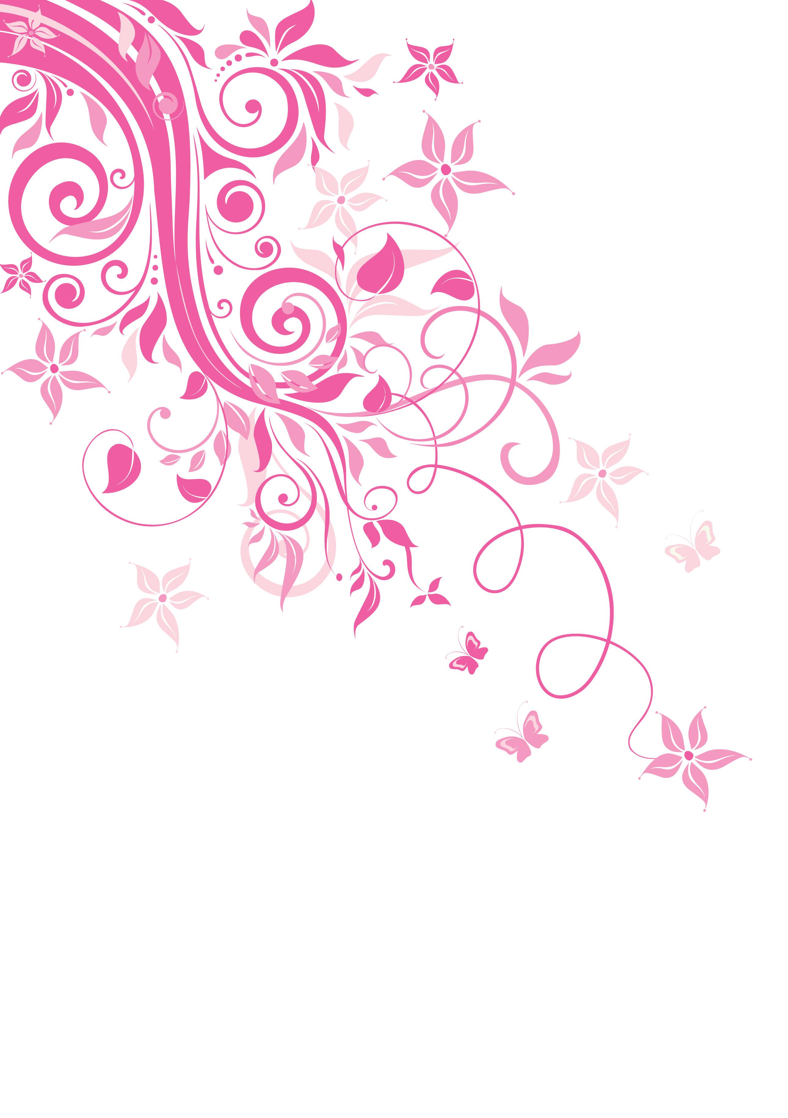 ピンクの花のイラストフリー素材壁紙背景no711赤紫茎葉つる