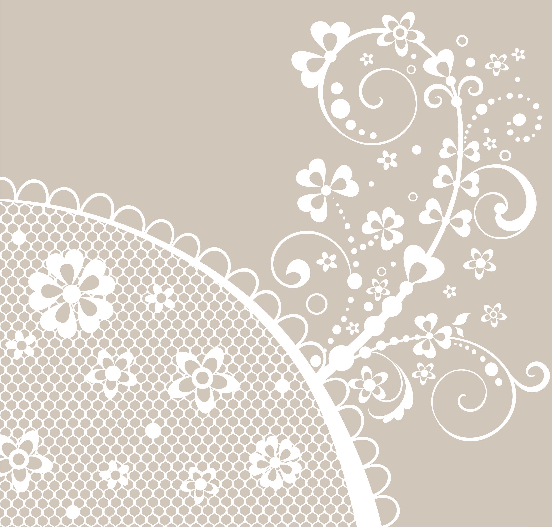 白いの花のイラスト・フリー素材/背景・壁紙no.449『グレー・白抜き