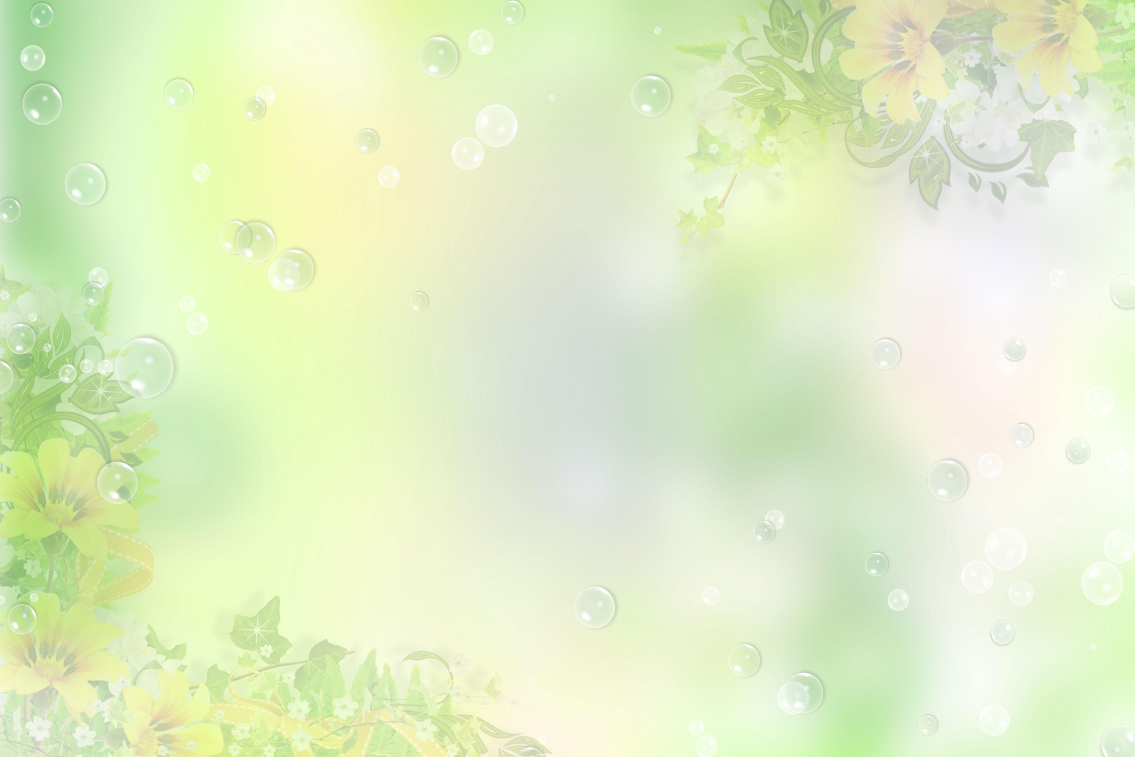 花のイラスト・フリー素材/壁紙・背景no.066『淡い色彩・緑・シャボン』