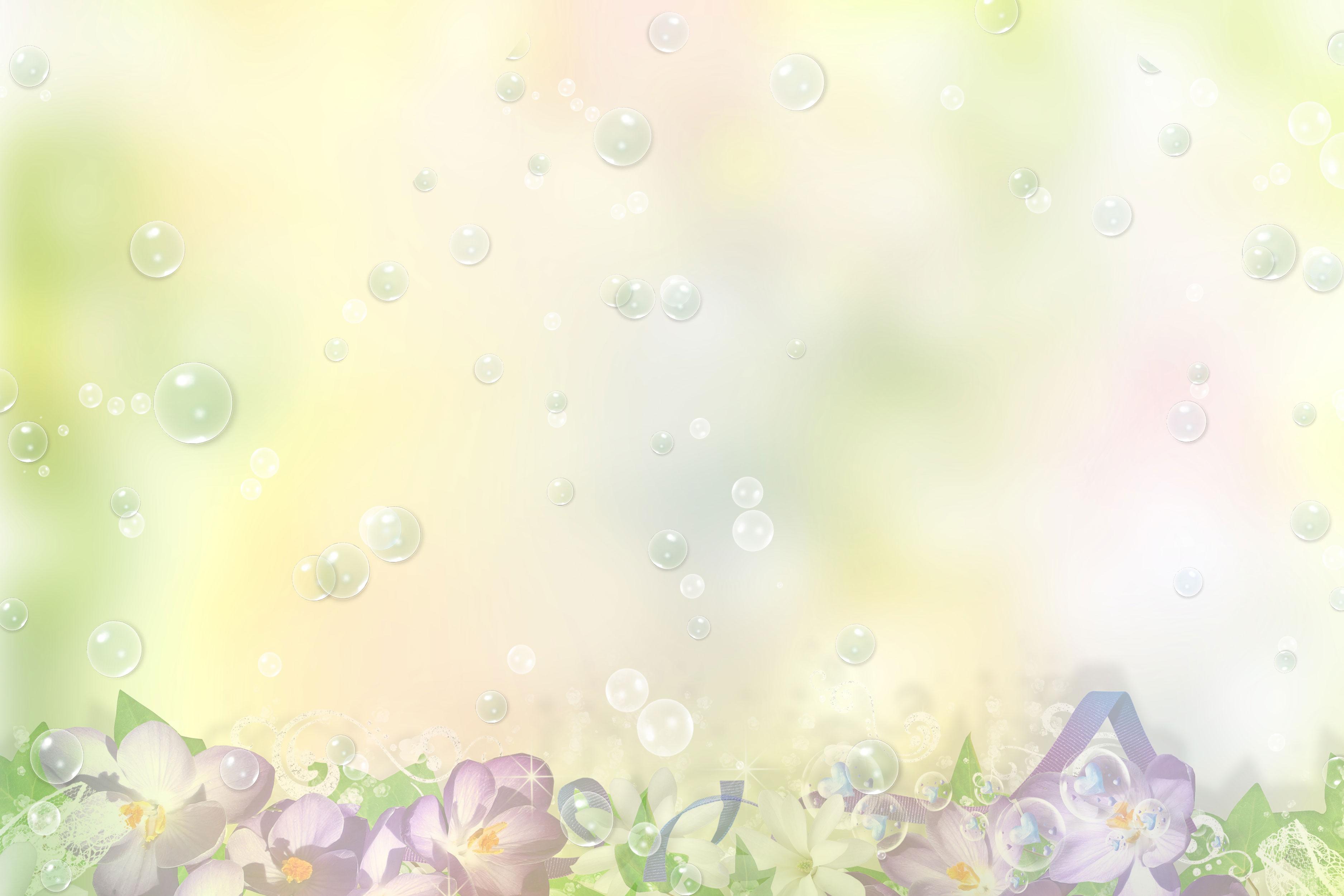 花のイラスト・フリー素材/壁紙・背景no.067『淡い色彩・紫・シャボン』