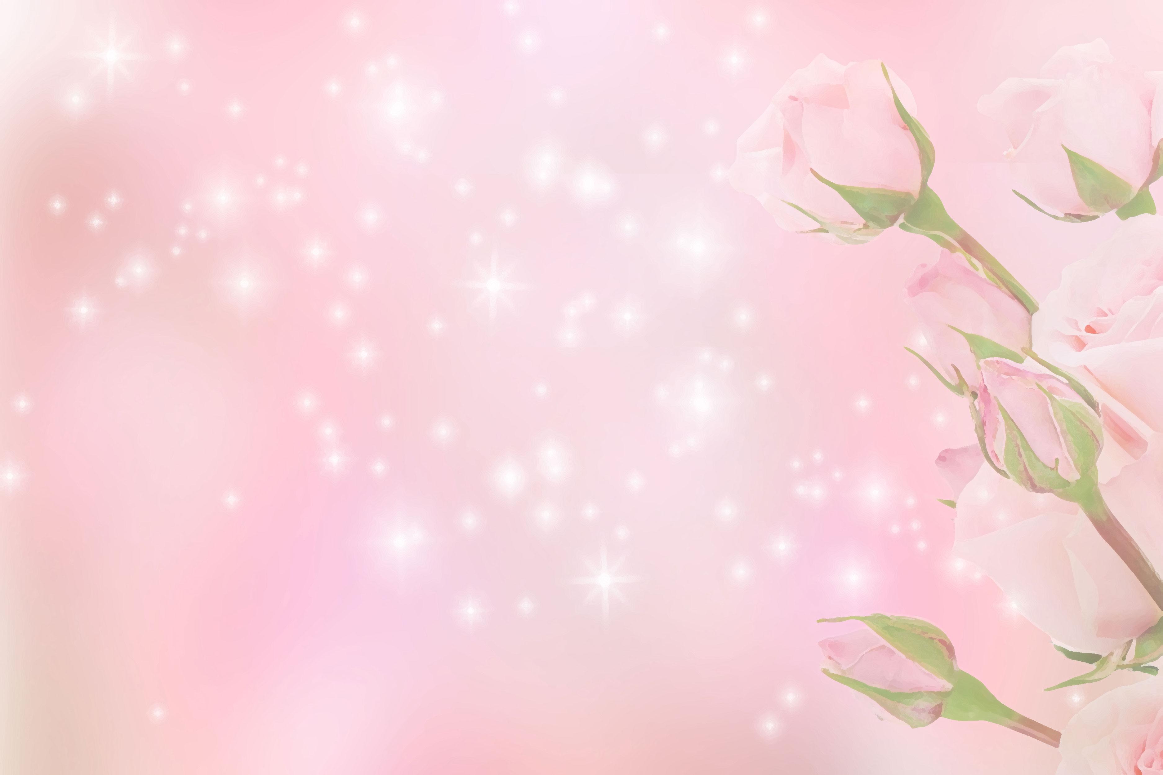 花のイラスト・フリー素材/壁紙・背景no.069『バラ・ピンク・光輝く』