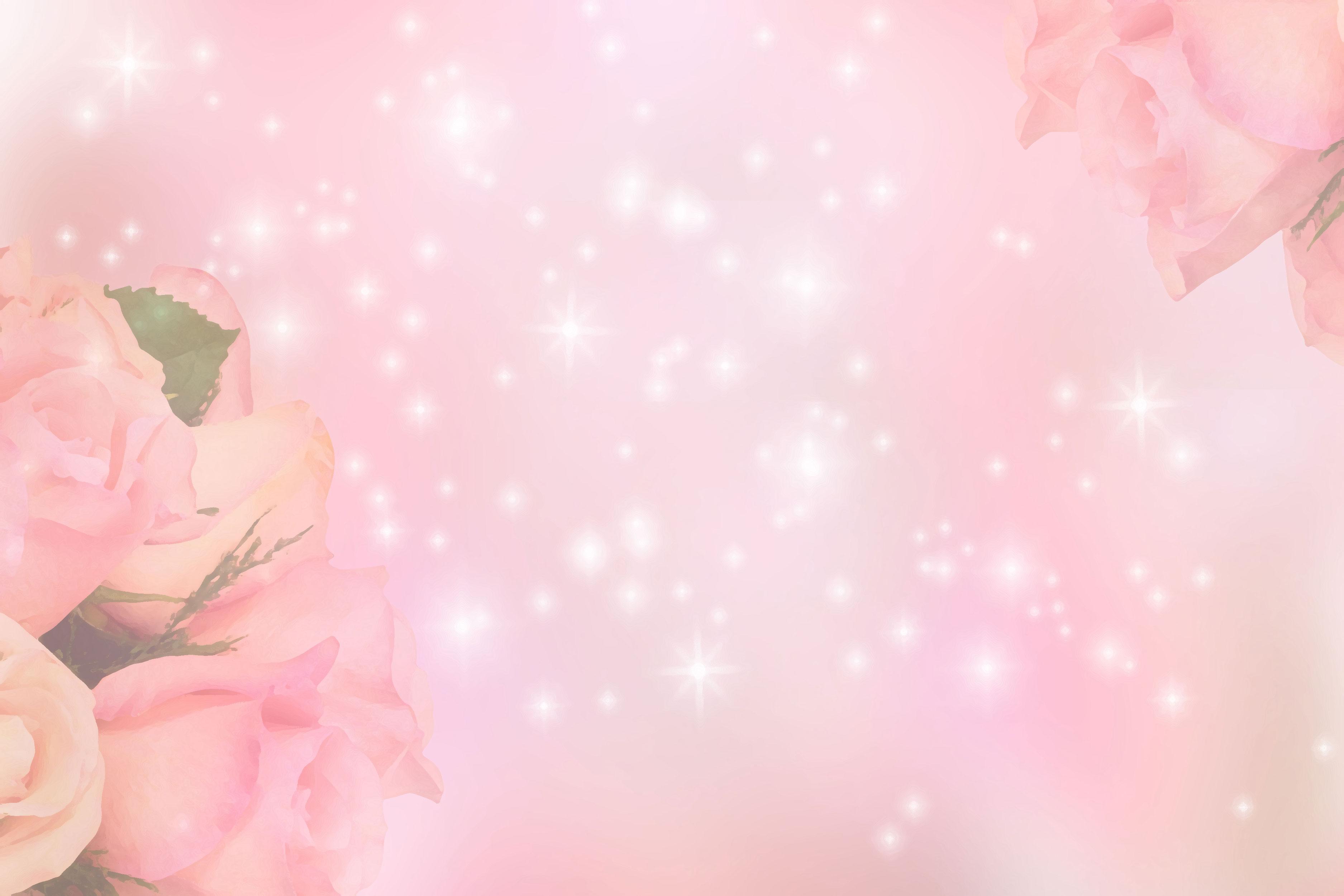 花のイラスト・フリー素材/壁紙・背景no.070『バラ・ピンク・光輝く』
