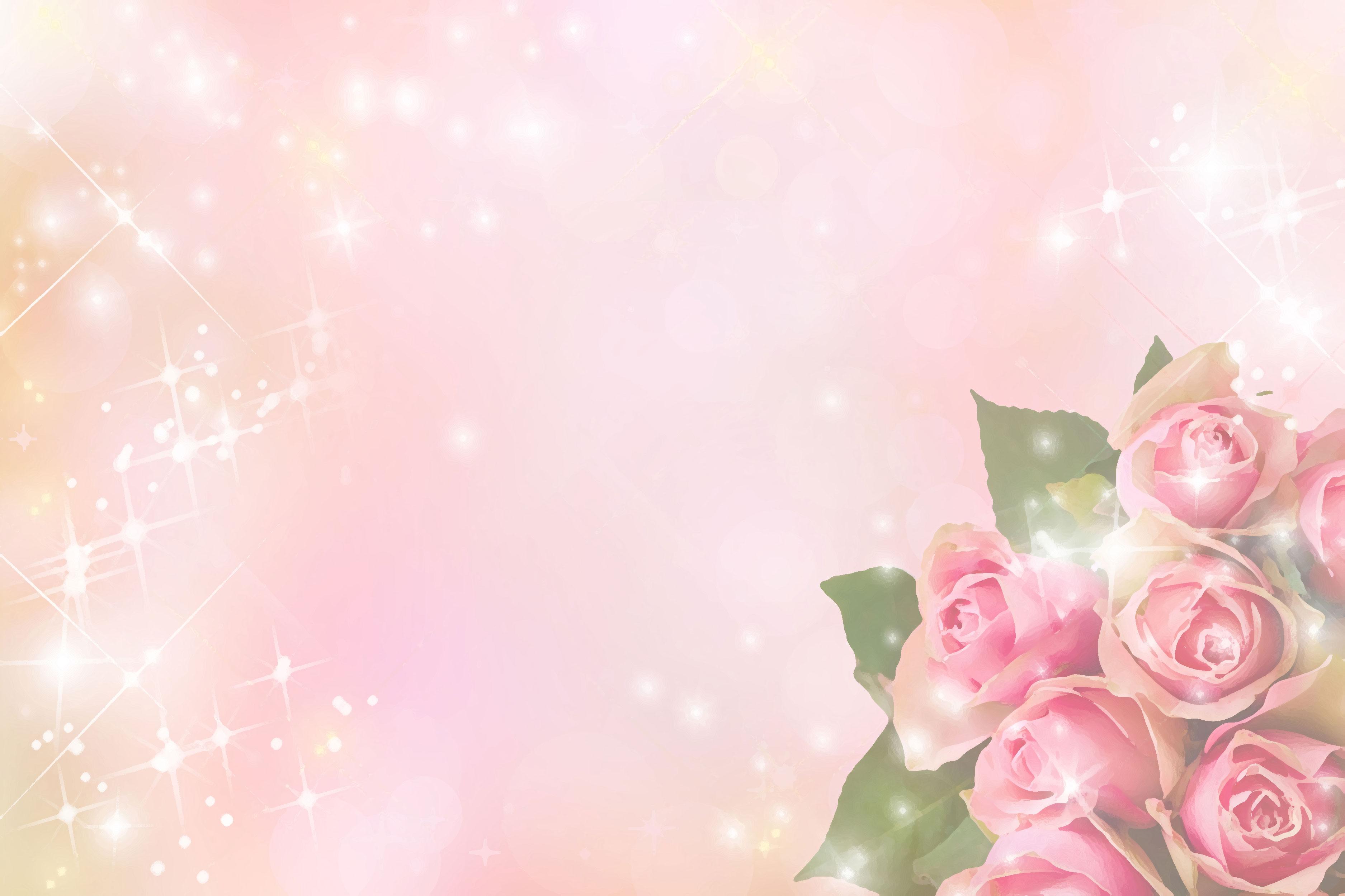 花のイラスト・フリー素材/壁紙・背景no.073『バラ・ピンク・光輝く』