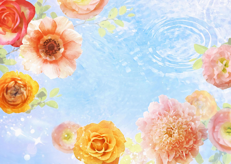 花のイラスト・フリー素材/壁紙・背景no.115『カラフルフラワー・水面