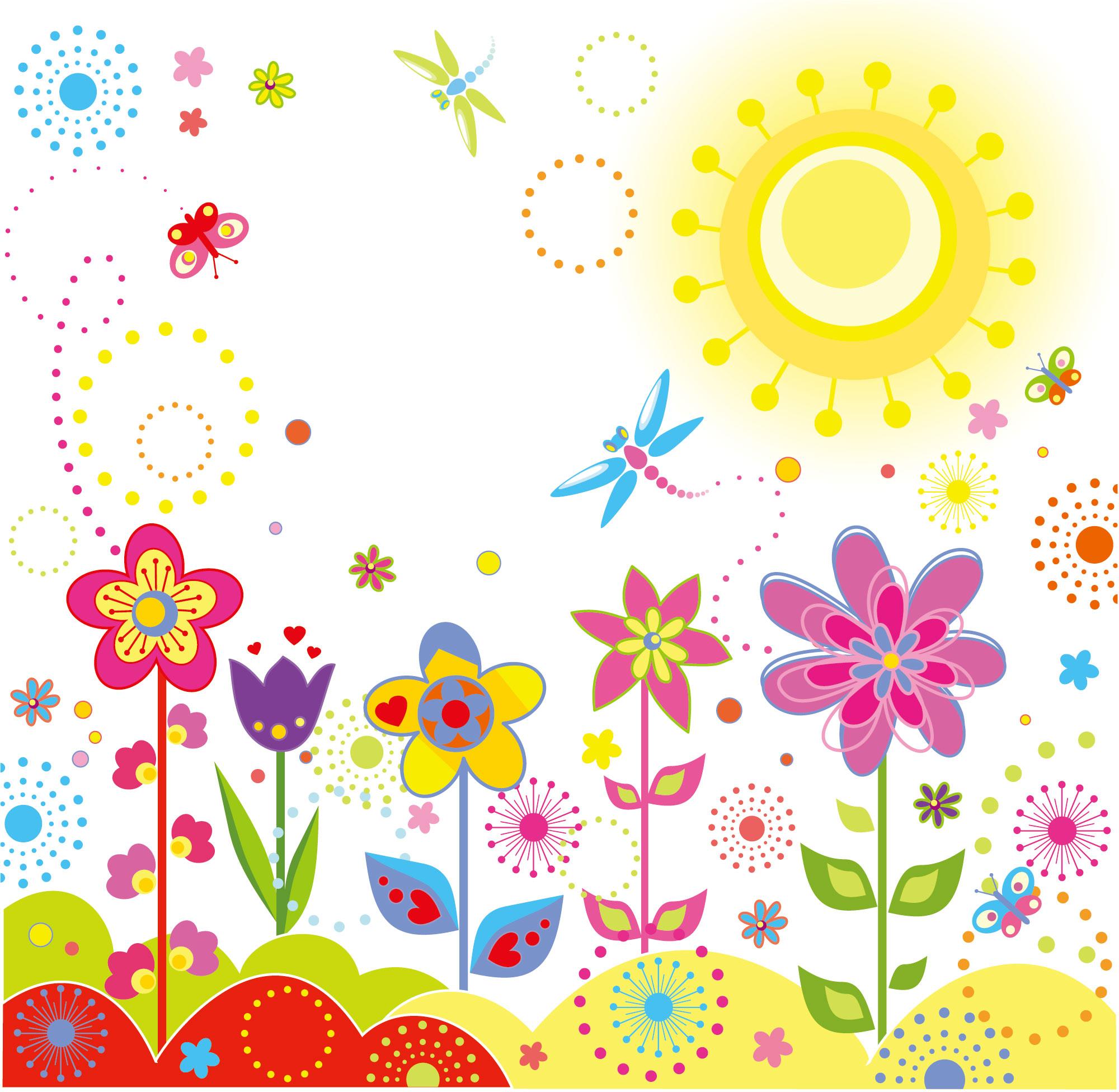 画像サンプル-ポップな花・カラフル