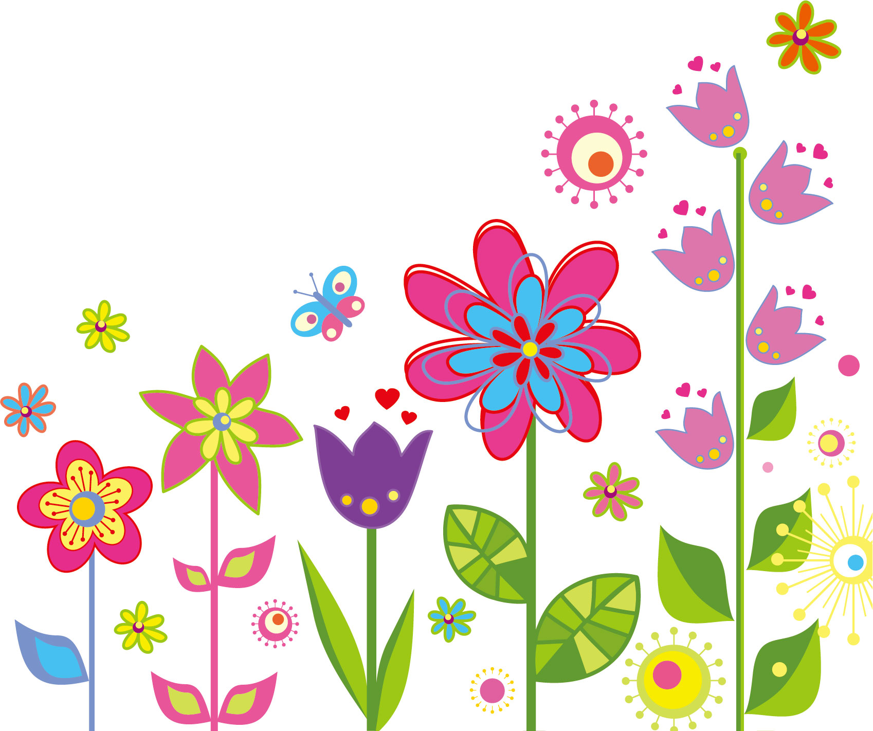 かわいい花のイラスト・画像No.044『ポップな花・カラフル』/無料のフリー素材集【百花繚乱】