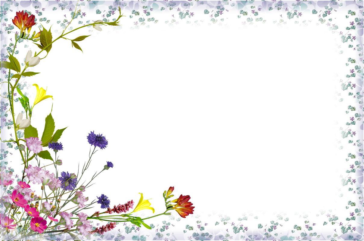 花のイラスト・フリー素材/フレーム枠no.676『フラワーフレーム-紫基調』