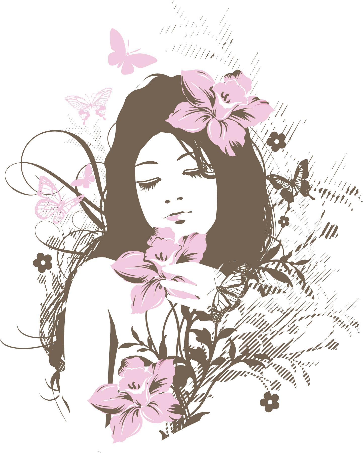 ポップでかわいい花のイラストフリー素材no067ピンクの花と女性