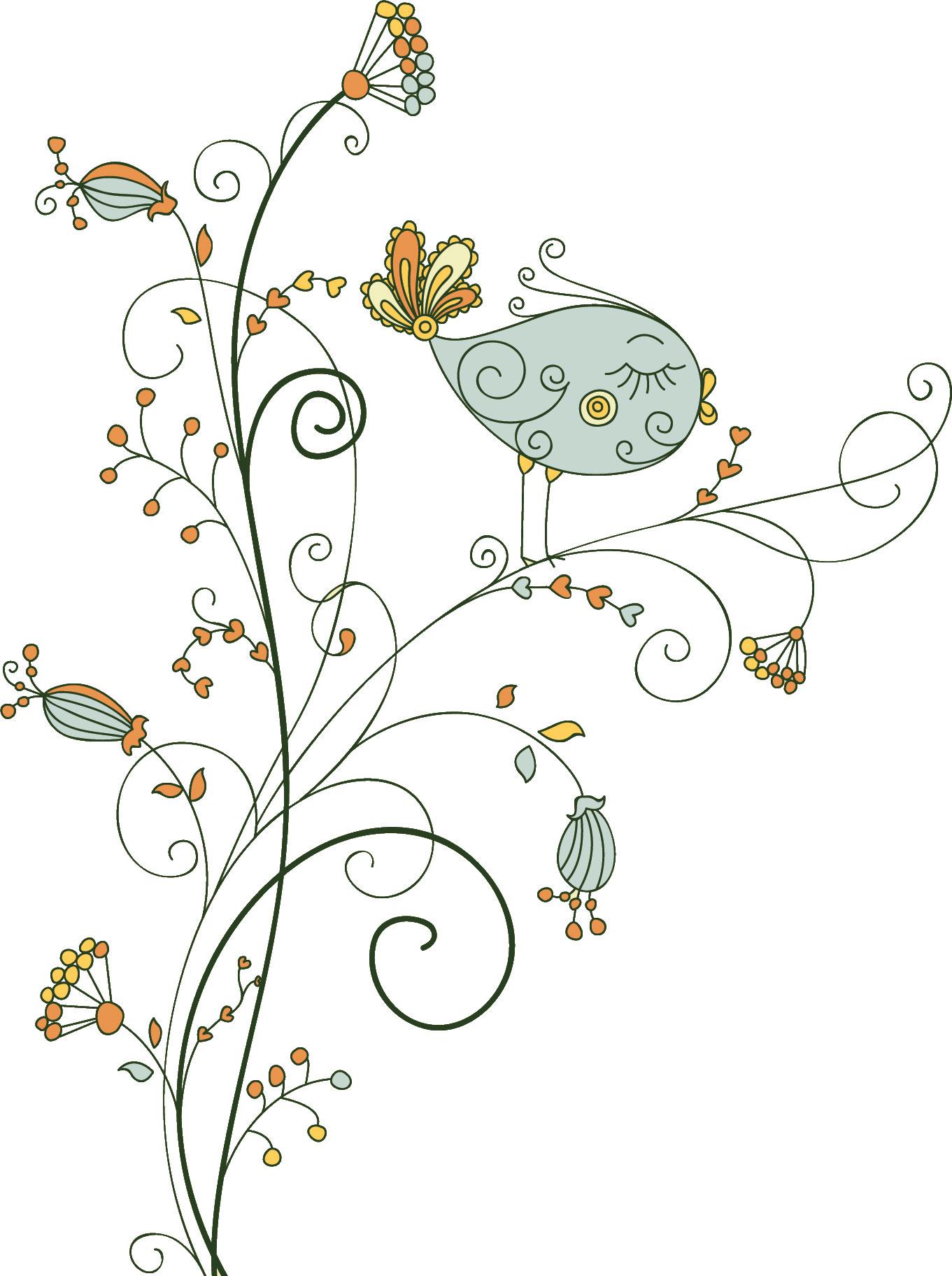 ポップでかわいい花のイラストフリー素材no069花にとまる鳥