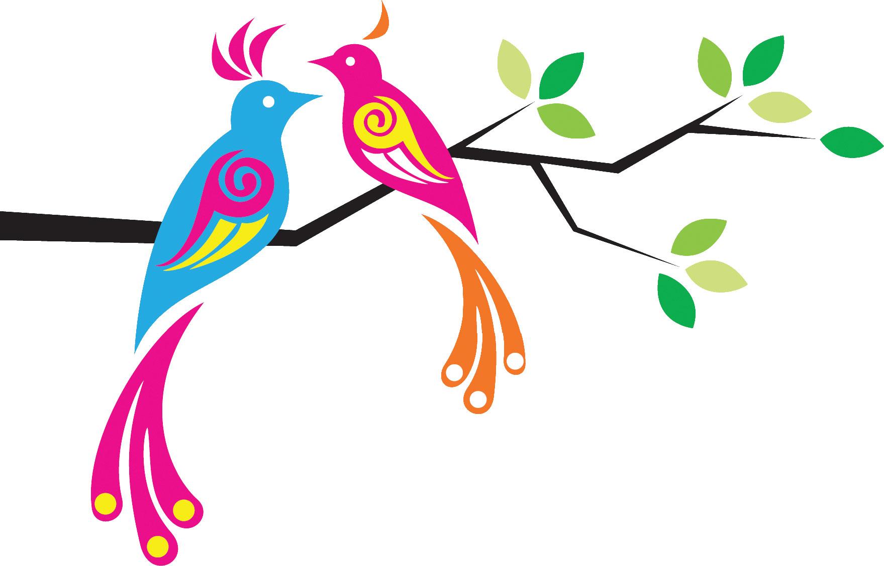 ポップでかわいい花のイラスト・フリー素材/no.342『枝葉と鳥のイラスト