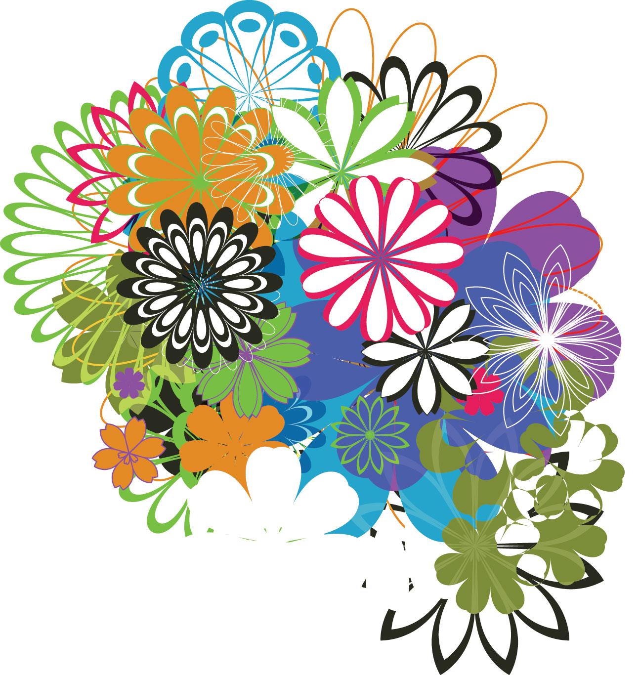 ポップでかわいい花のイラスト・フリー素材/no.277『カラフルフラワー』