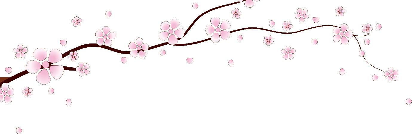 花のライン線イラスト-桃の花