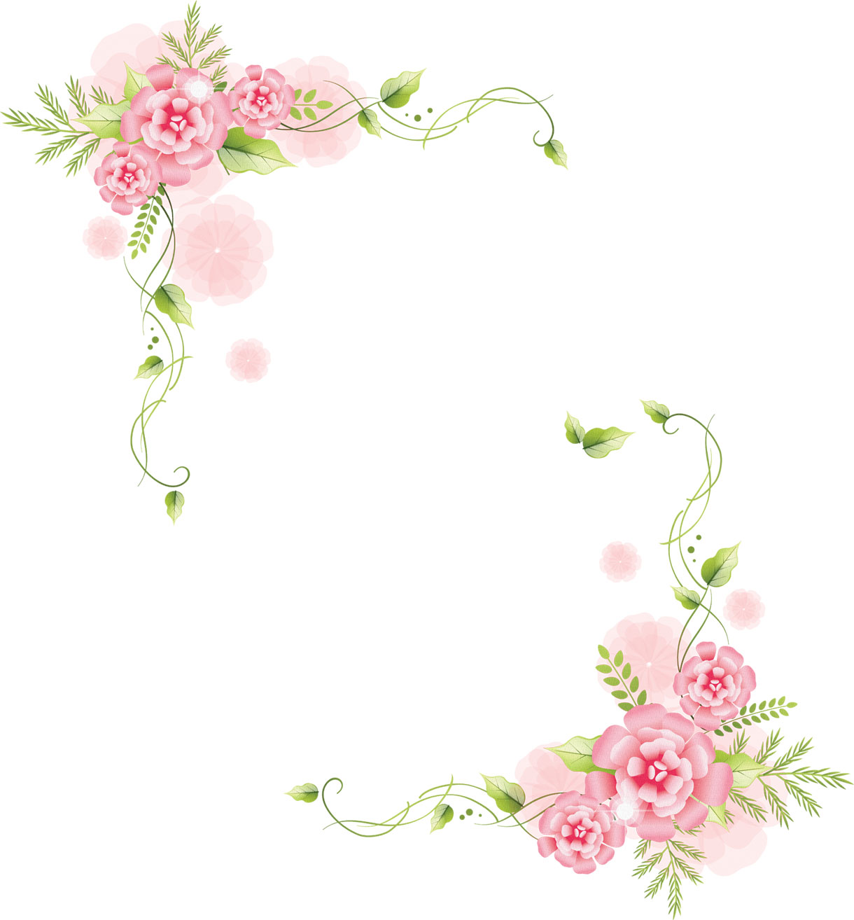 リアルな花のイラスト『フレーム・外枠2』/無料のフリー素材集【百花