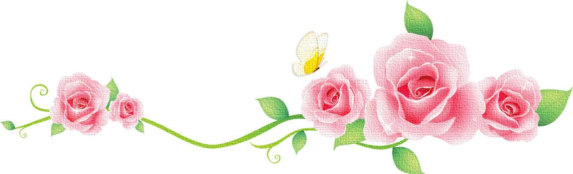 花のイラストフリー素材フレーム枠no037ピンクローズ