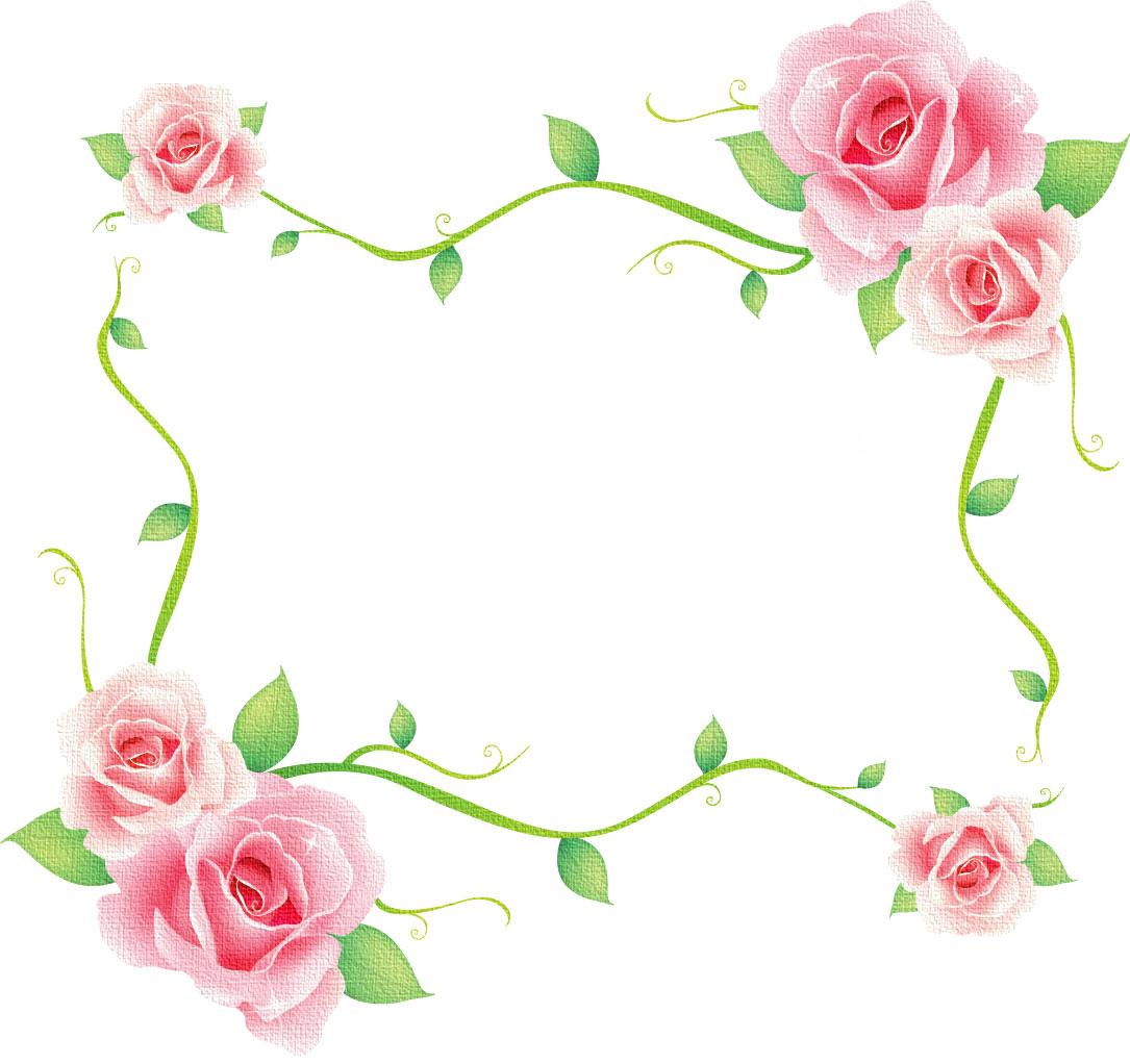 すべての講義 写真の枠 : 薔薇のイラスト見本-ピンクの ...