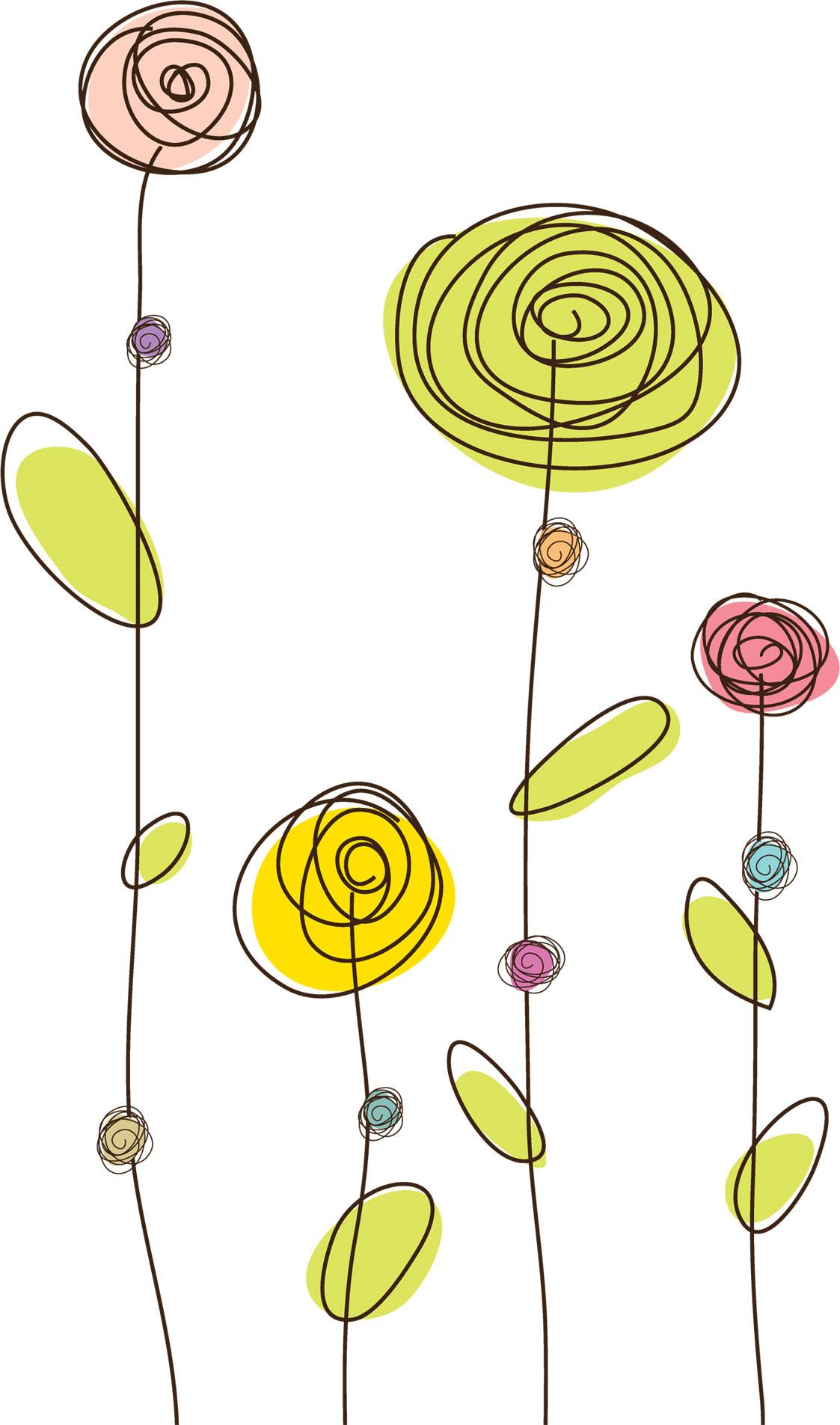 ポップでかわいい花のイラスト・フリー素材/no.006『シンプルフラワー』