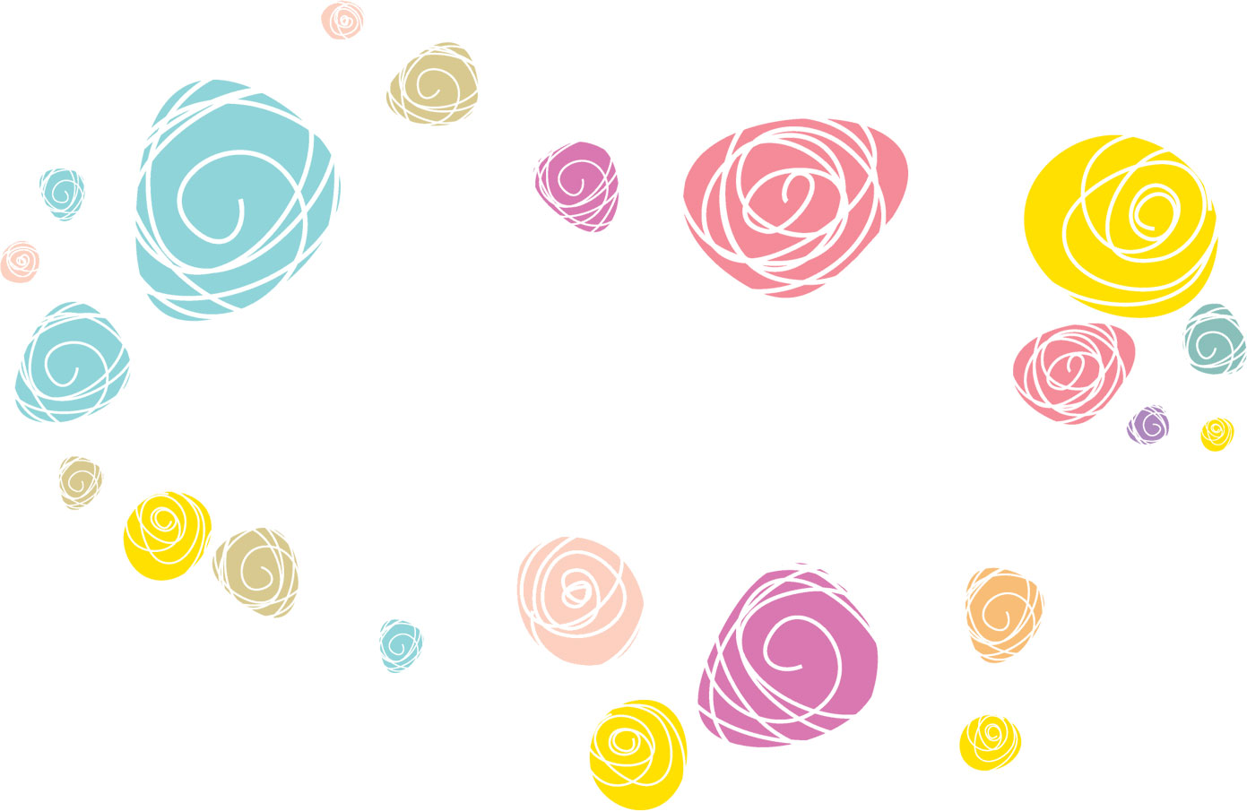 ポップでかわいい花のイラスト・フリー素材/no.924『カラフル』