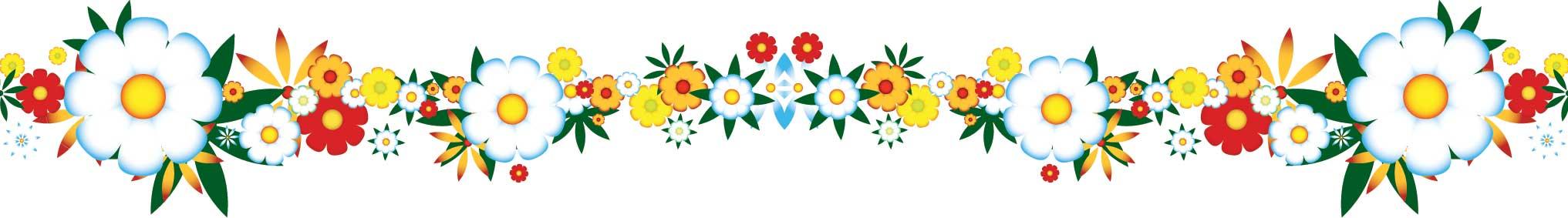 花のライン線イラスト-カラフルな花 1本